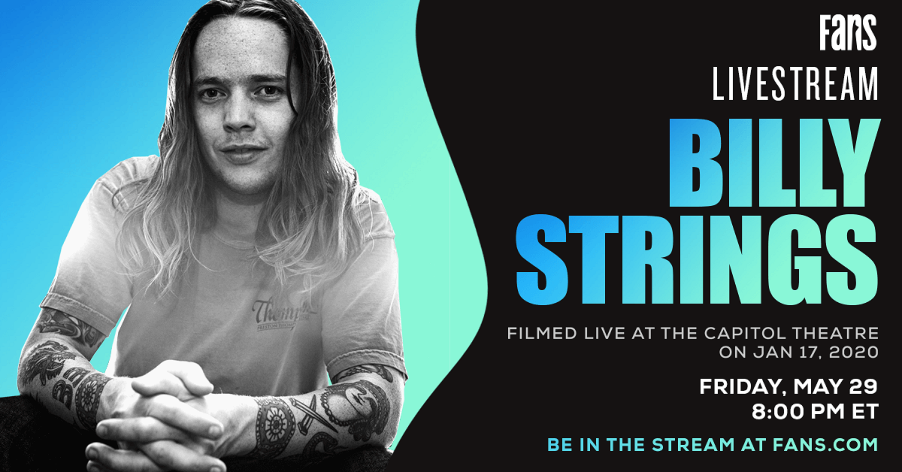 FANS announces Billy Strings livestream on Friday, May 29