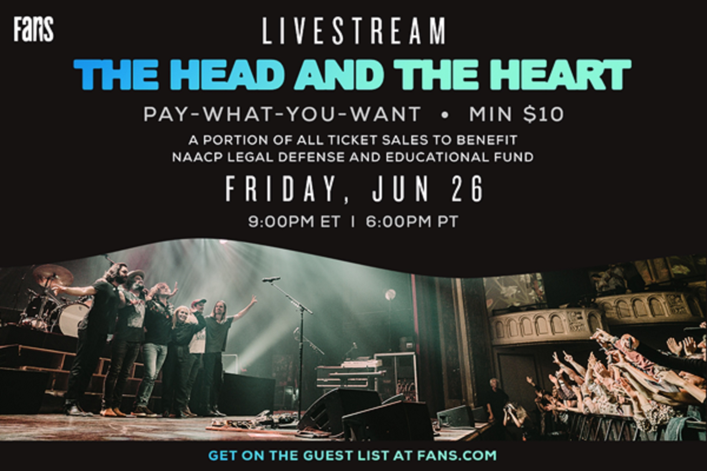 The Head and The Heart livestream to benefit NAACP Legal Defense