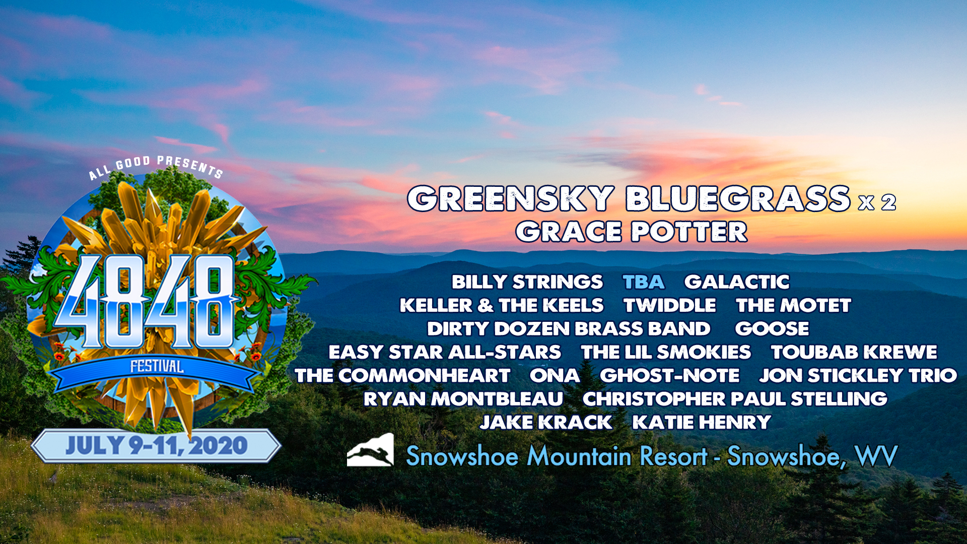 All Good Presents the 2nd Annual 4848 Festival at Snowshoe Mountain Resort, Snowshoe, WV July 9 - 11