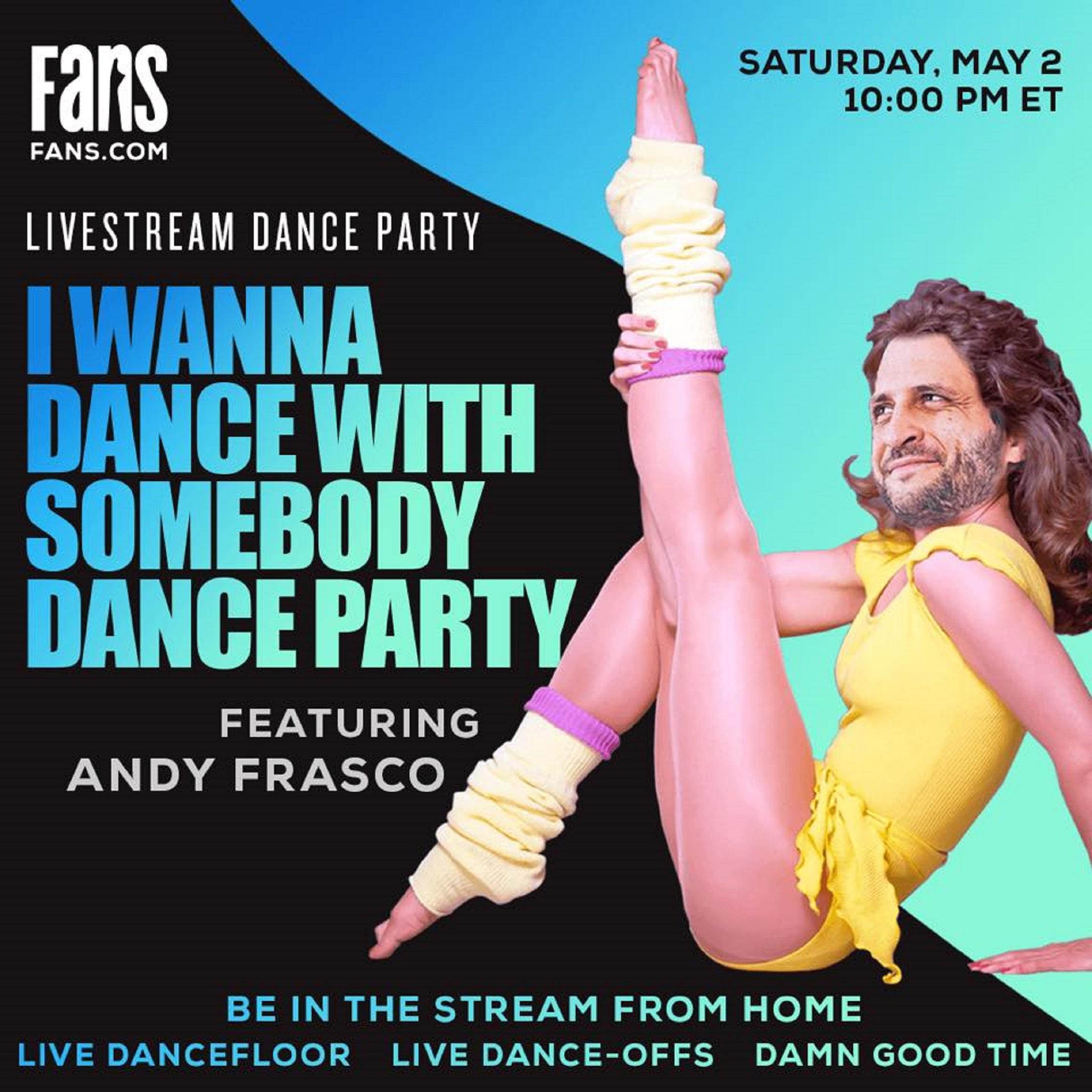 Andy Frasco announce I Wanna Dance With Somebody virtual dance party stream