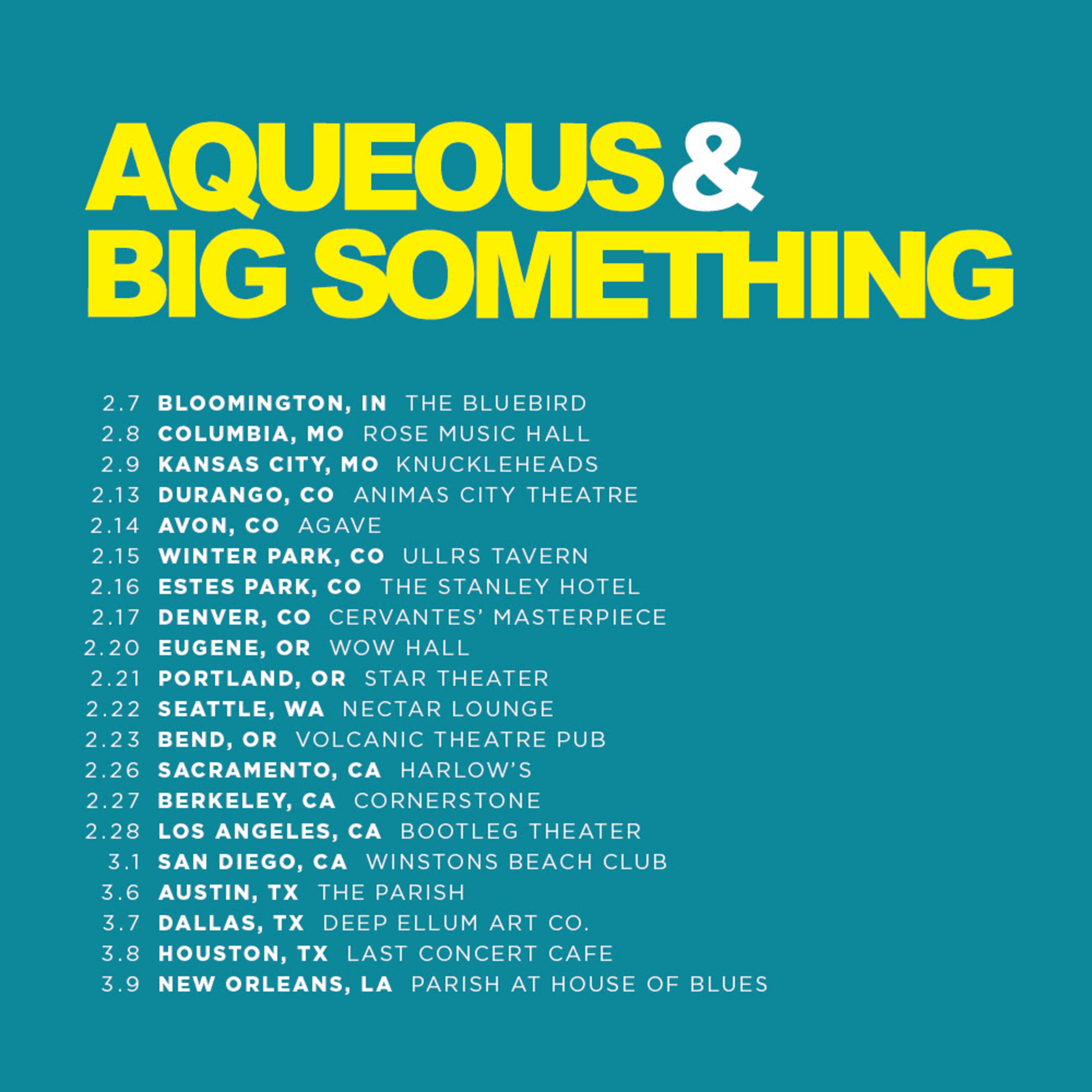 Aqueous Announces First-Ever West Coast Tour