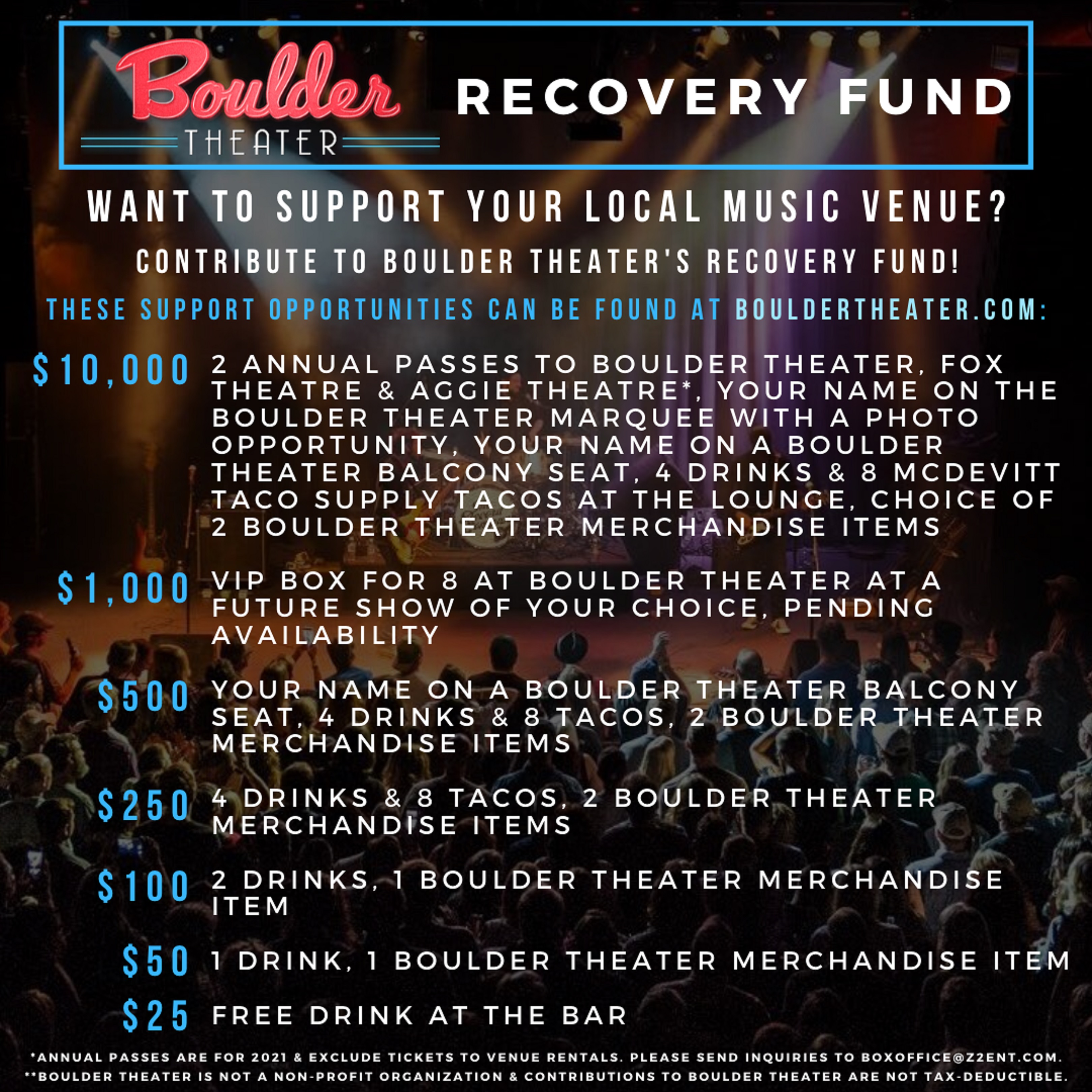 Z2 ENTERTAINMENT RECOVERY FUND (BOULDER THEATER, FOX THEATRE, AGGIE THEATRE)