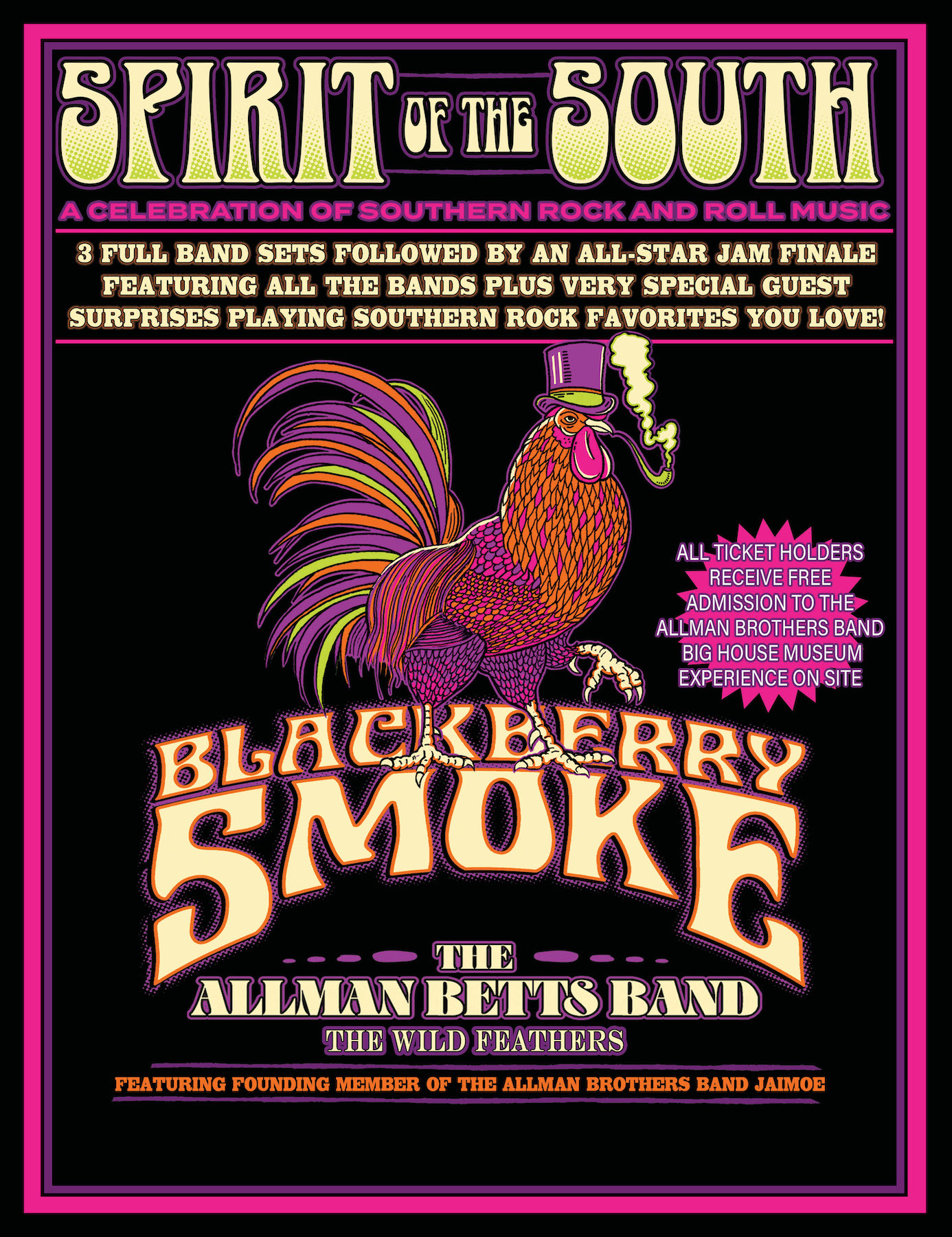 "Blackberry Smoke confirms ""Spirit of the South Tour: A Celebration of Southern Rock and Roll Music,"" featuring The Allman Betts Band, The Wild Feathers and The Allman Brothers Band's Jaimoe"