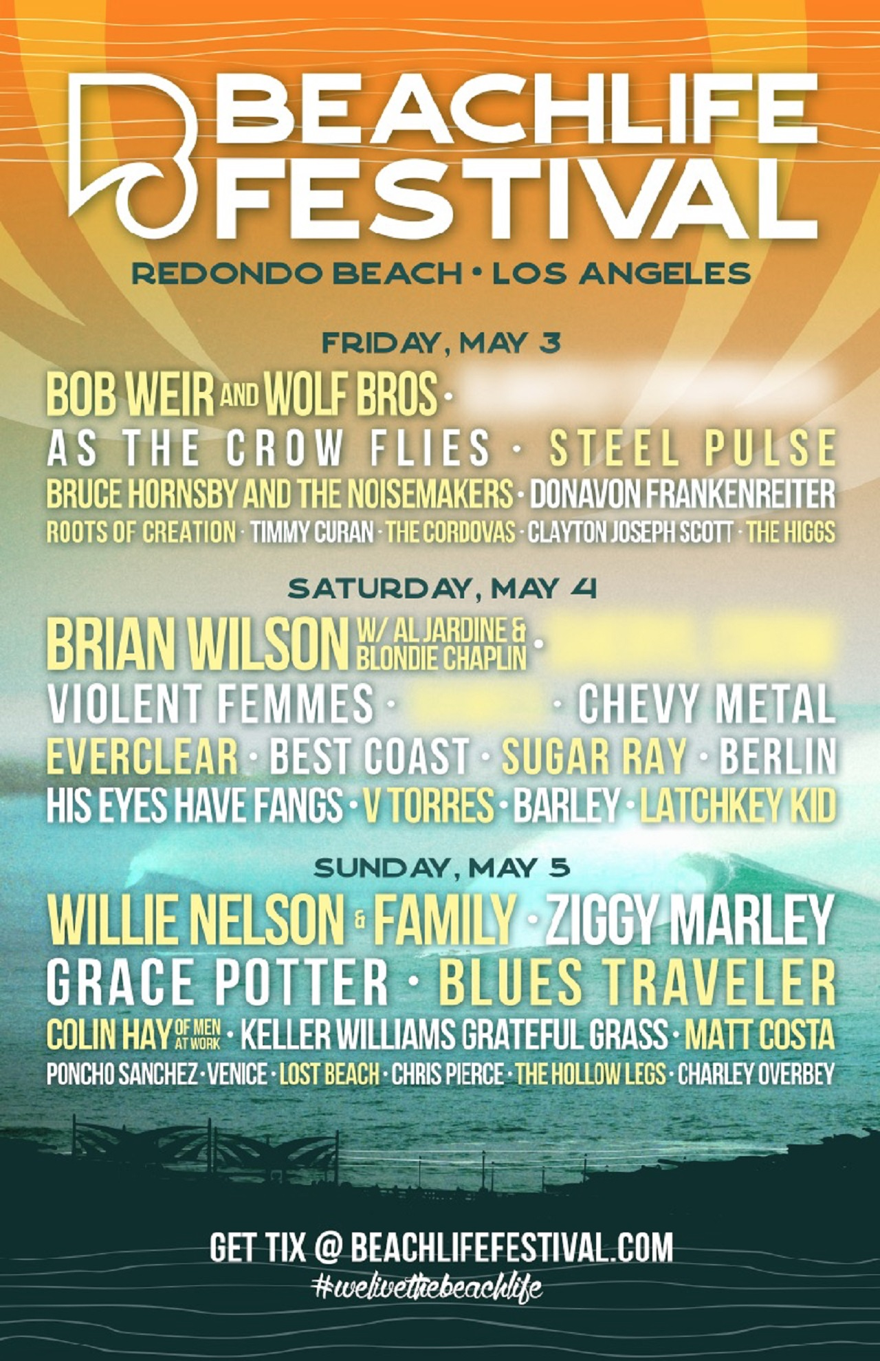 LA's BeachLife Festival Lineup Inclues Bob Weir, Willie Nelson, Brian Wilson + Many More