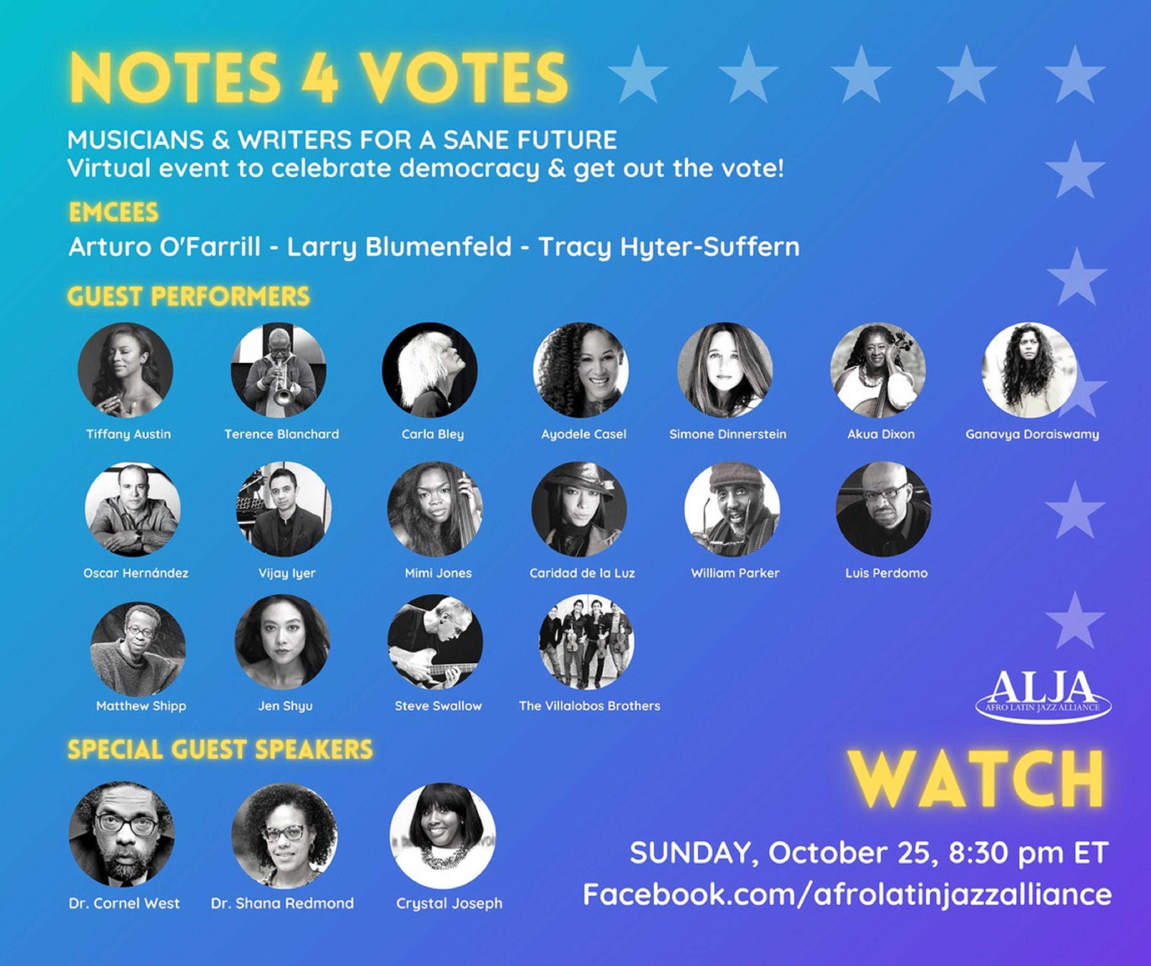 """NOTES 4 VOTES"" Featuring Terence Blanchard, Vijay Iyer, Carla Bley, Dr. Cornel West, Arturo O'Farrill, and Many Others"