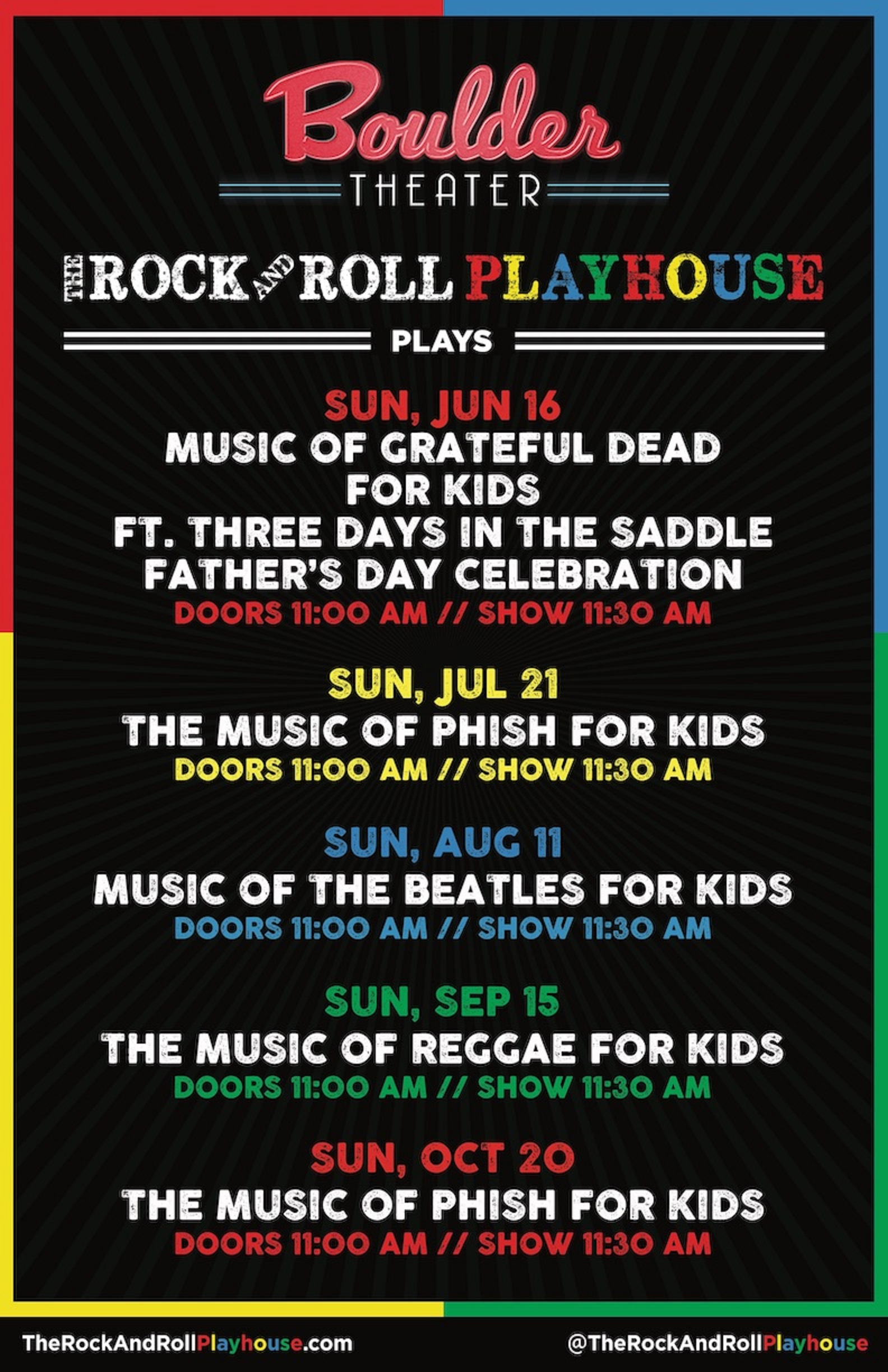 THE ROCK AND ROLL PLAYHOUSE PRESENTS 2019 EVENTS