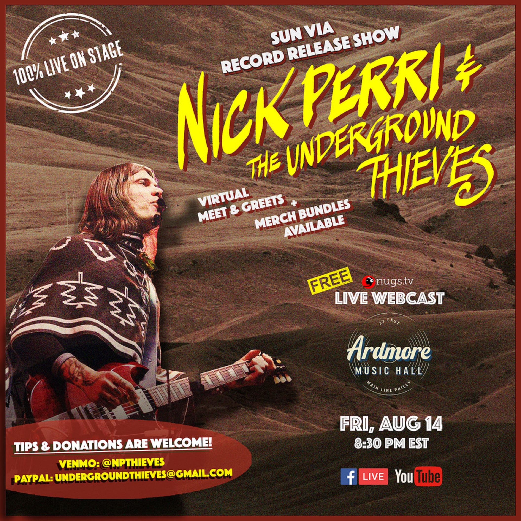 Nick Perri & The Underground Thieves livestream from the Ardmore Music Hall