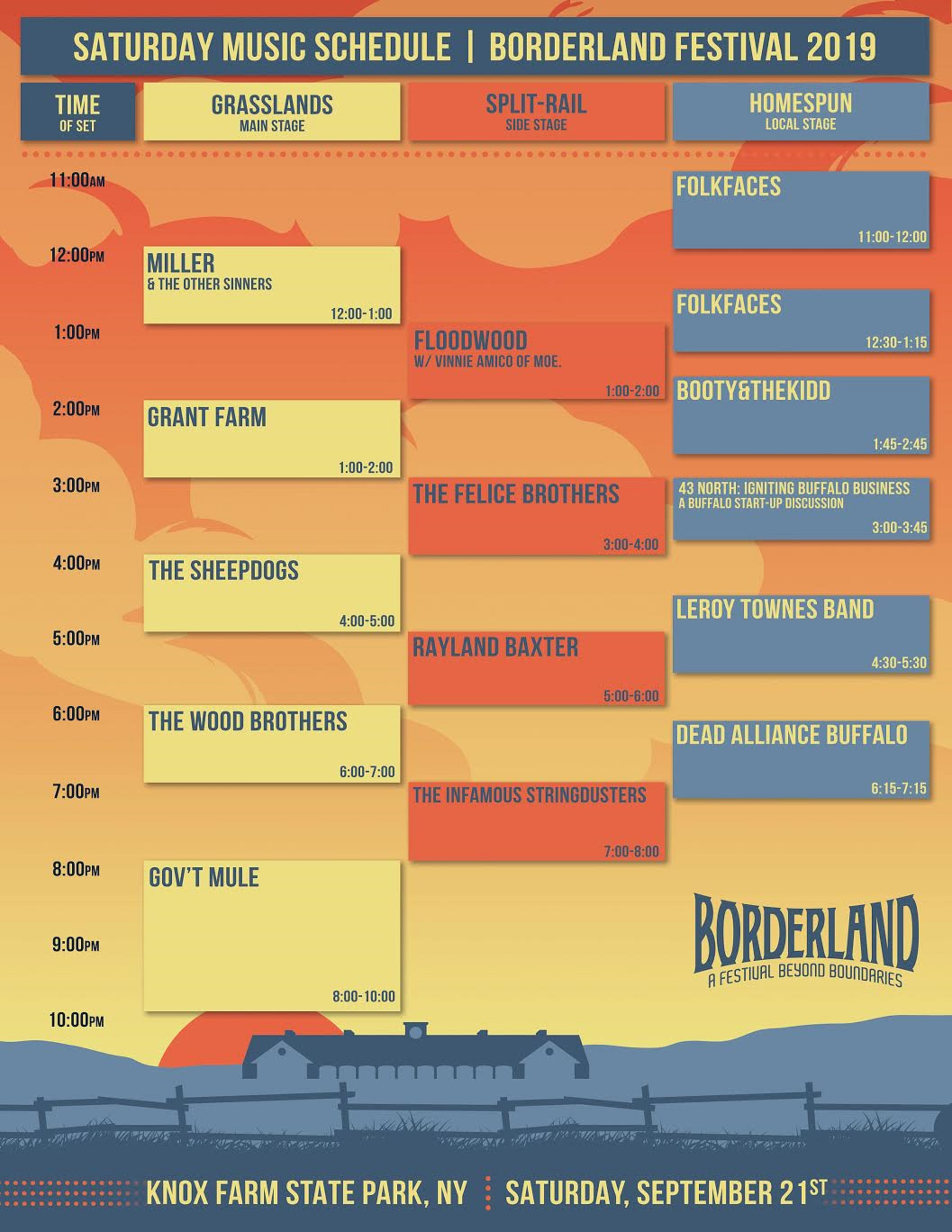 BORDERLAND FESTIVAL ANNOUNCES DAILY LINE-UP