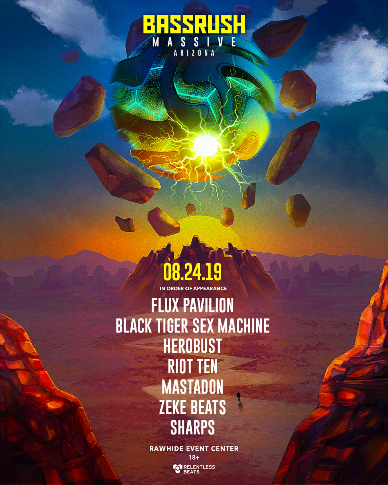 RELENTLESS BEATS ANNOUNCES BASSRUSH MASSIVE ARIZONA, AUGUST 24, 2019