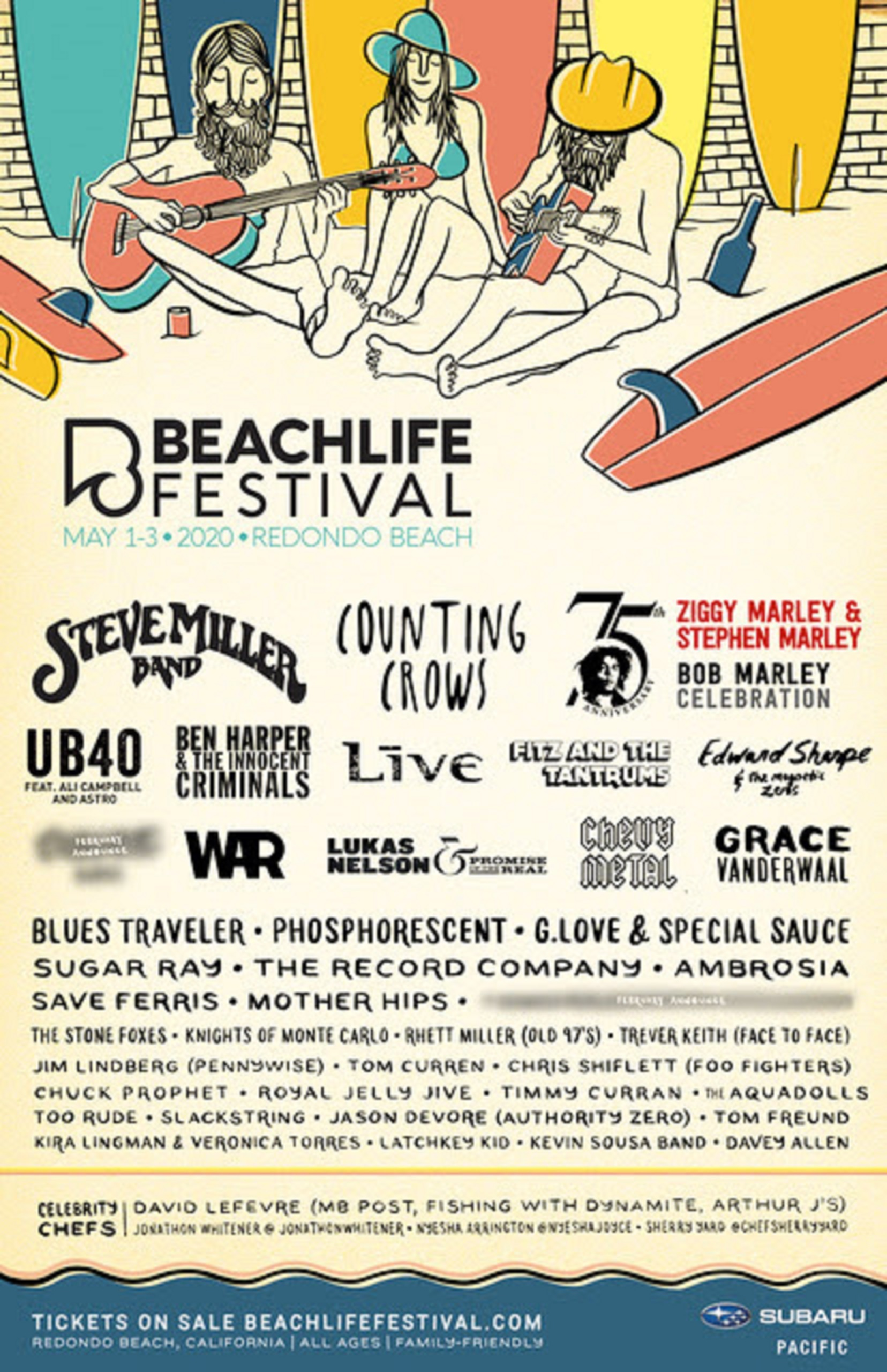 BEACHLIFE Announces STEVE MILLER BAND, COUNTING CROWS, BOB MARLEY Tribute with ZIGGY MARLEY & STEPHEN MARLEY, and more