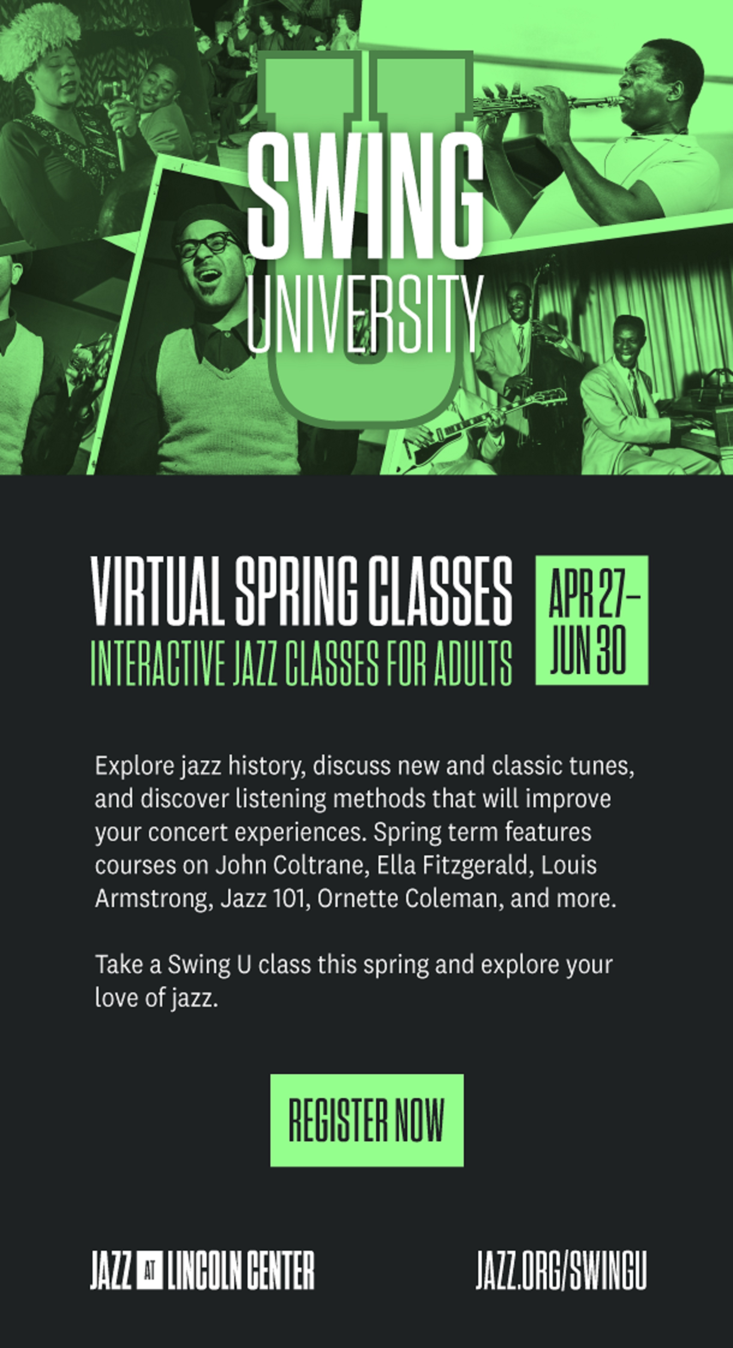 Learn about Louis Armstrong, John Coltrane, and more Jazz Legends this Spring
