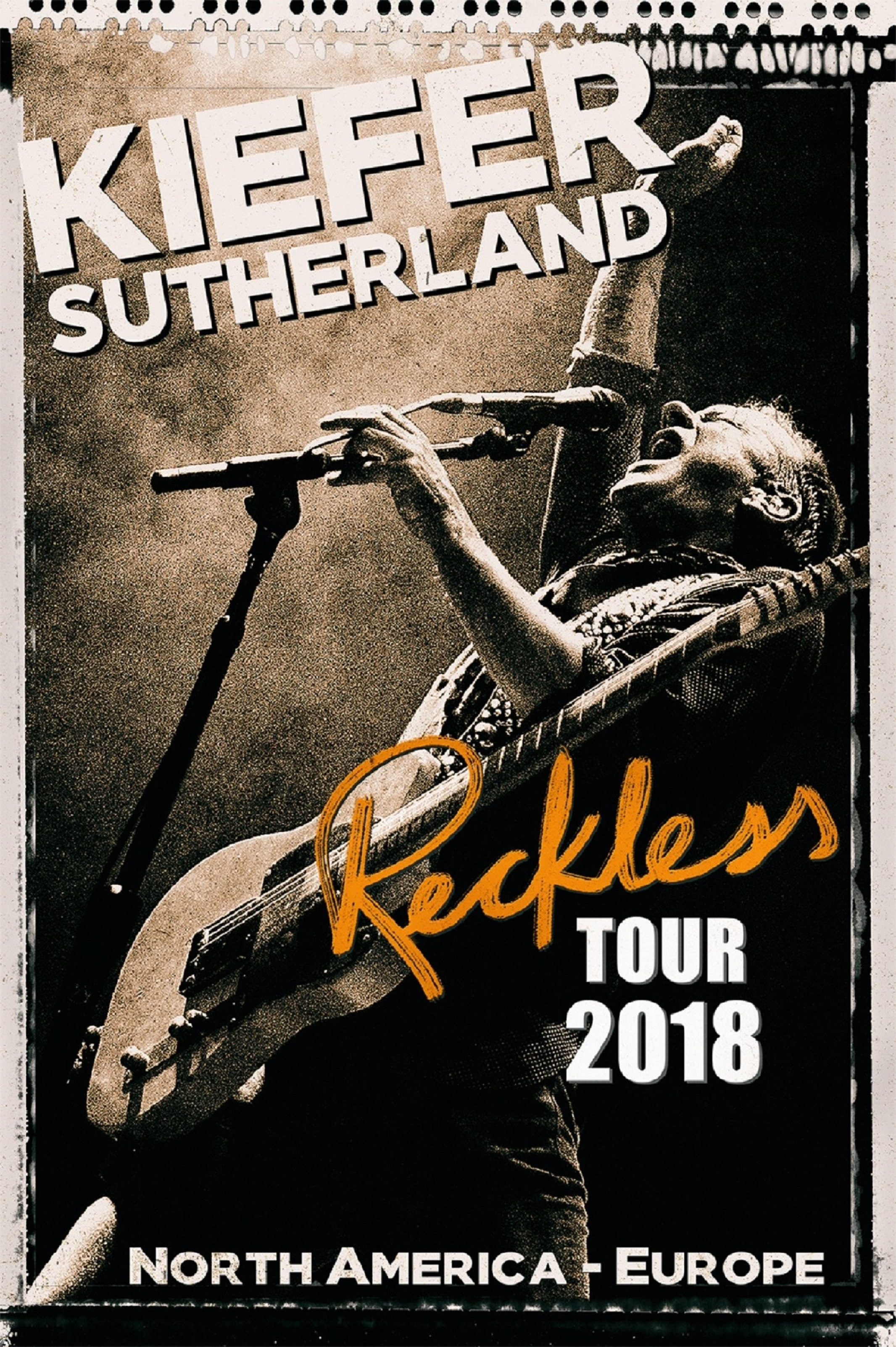 Kiefer Sutherland Announces 'Reckless' 2018 North America and Europe Tour