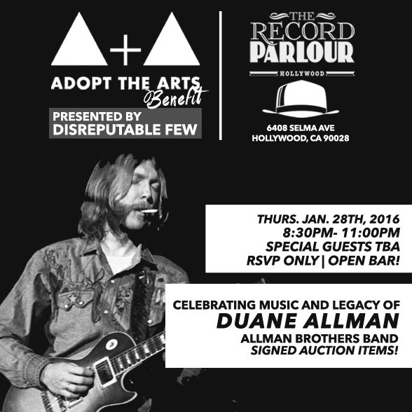 Adopt the Arts Winter Fundraiser Celebrating the legacy of Duane Allman