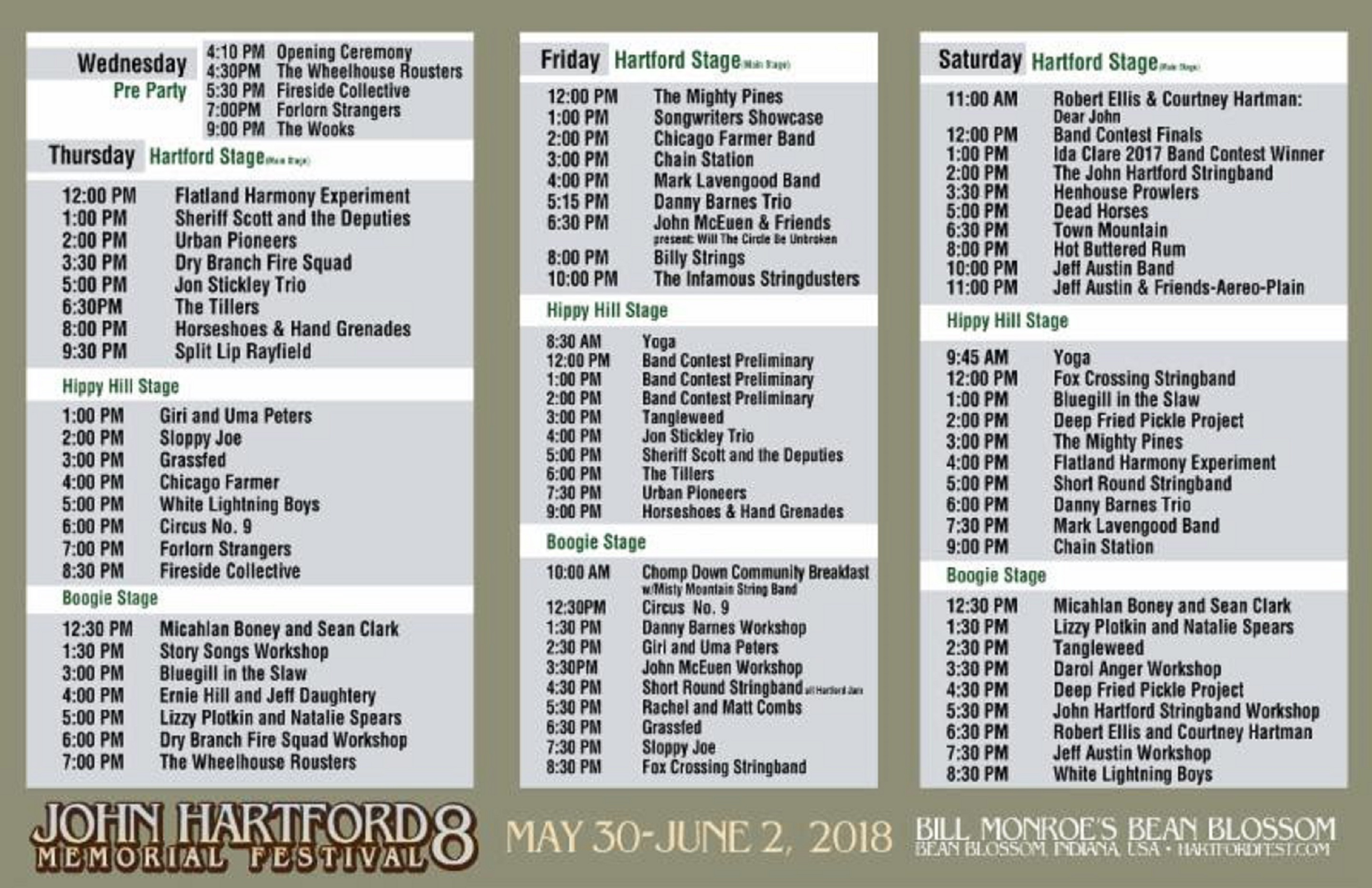John Hartford Memorial Festival Announces Stage Schedule