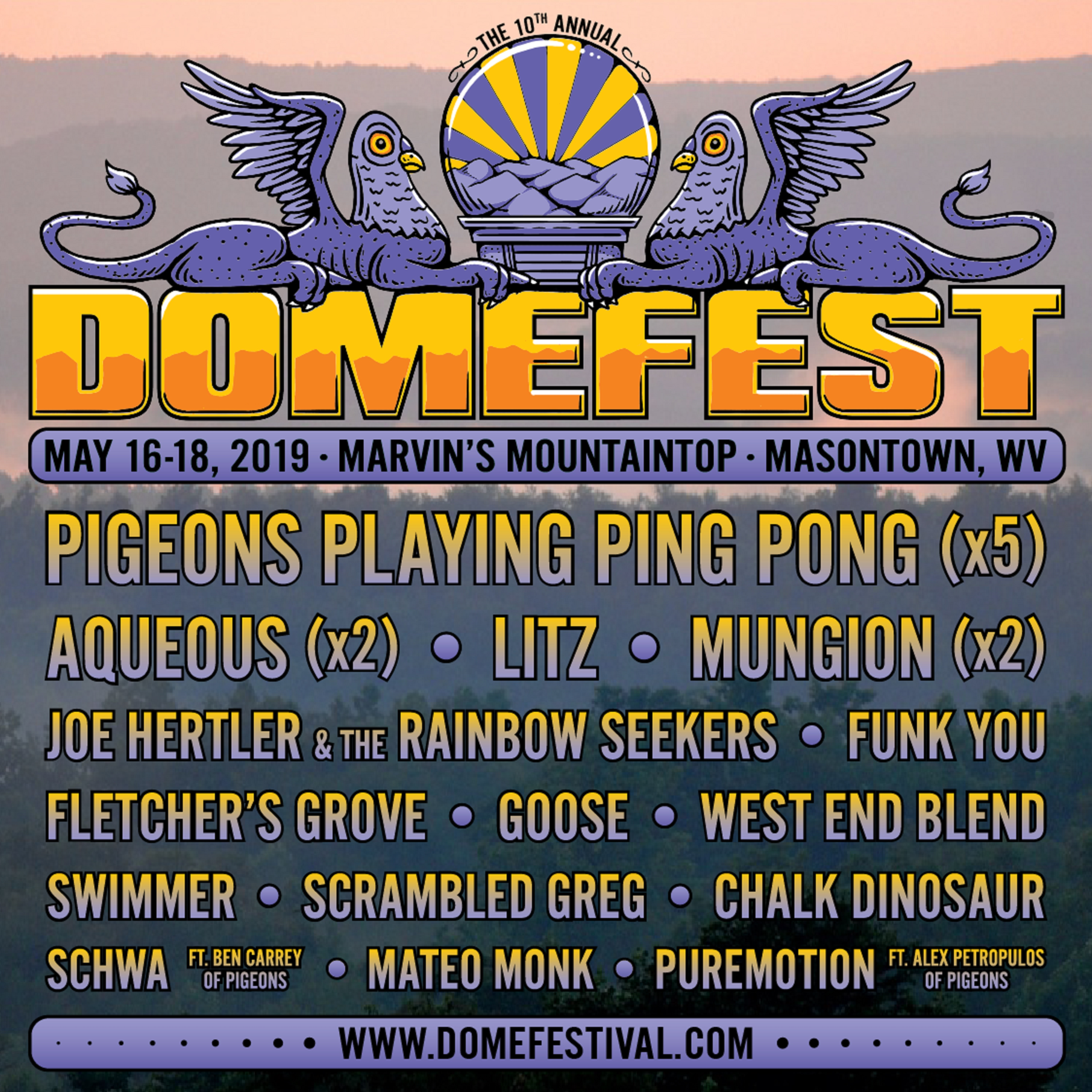 Pigeons Playing Ping Pong Share Initial Lineup For 10th Annual Domefest