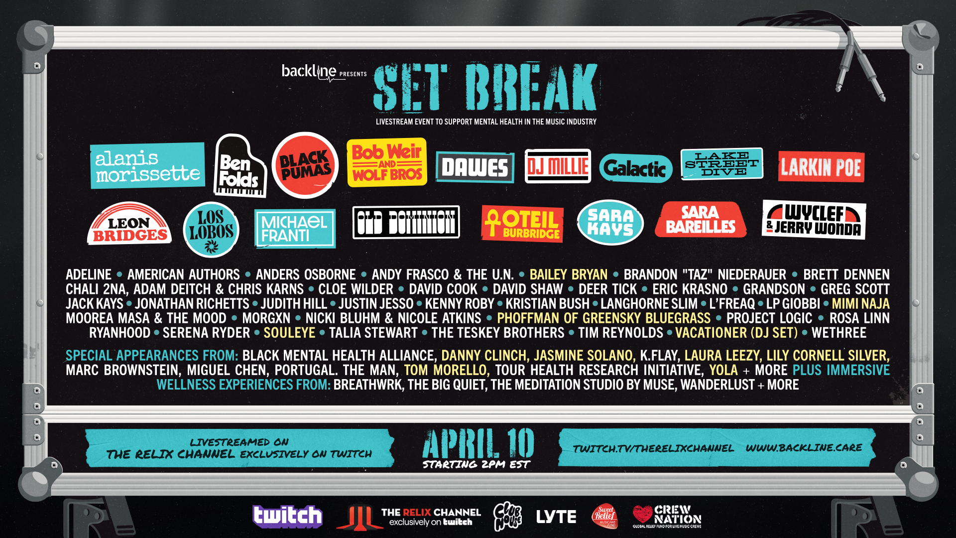 "Tom Morello, Old Dominion, Wyclef & Jerry Wonda + More Added To Backline's ""Set Break"" Livestream Event"