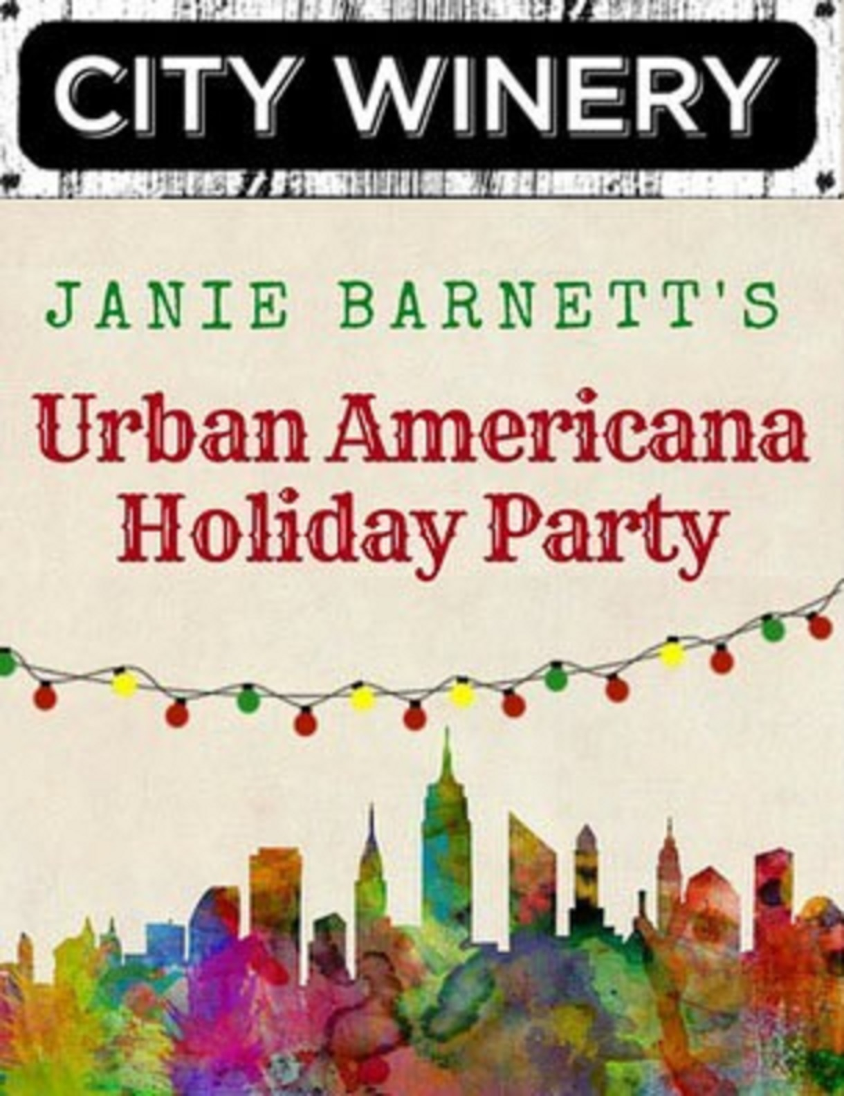 JANIE BARNETT TO PRESENT THE FIRST ANNUAL URBAN AMERICANA HOLIDAY PARTY  AT  CITY WINERY
