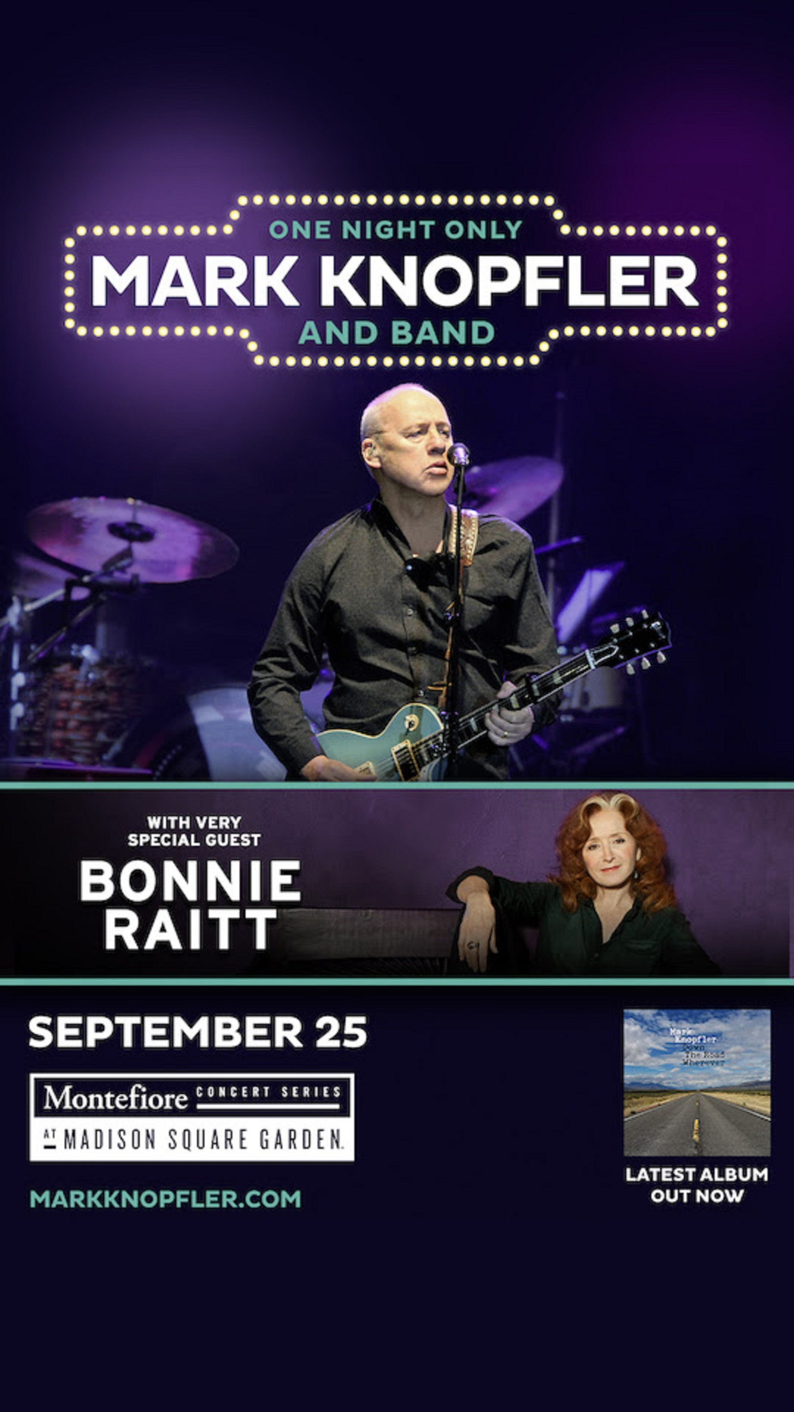 Mark Knopfler adds Madison Sq Garden show 9/25 with special guest Bonnie Raitt