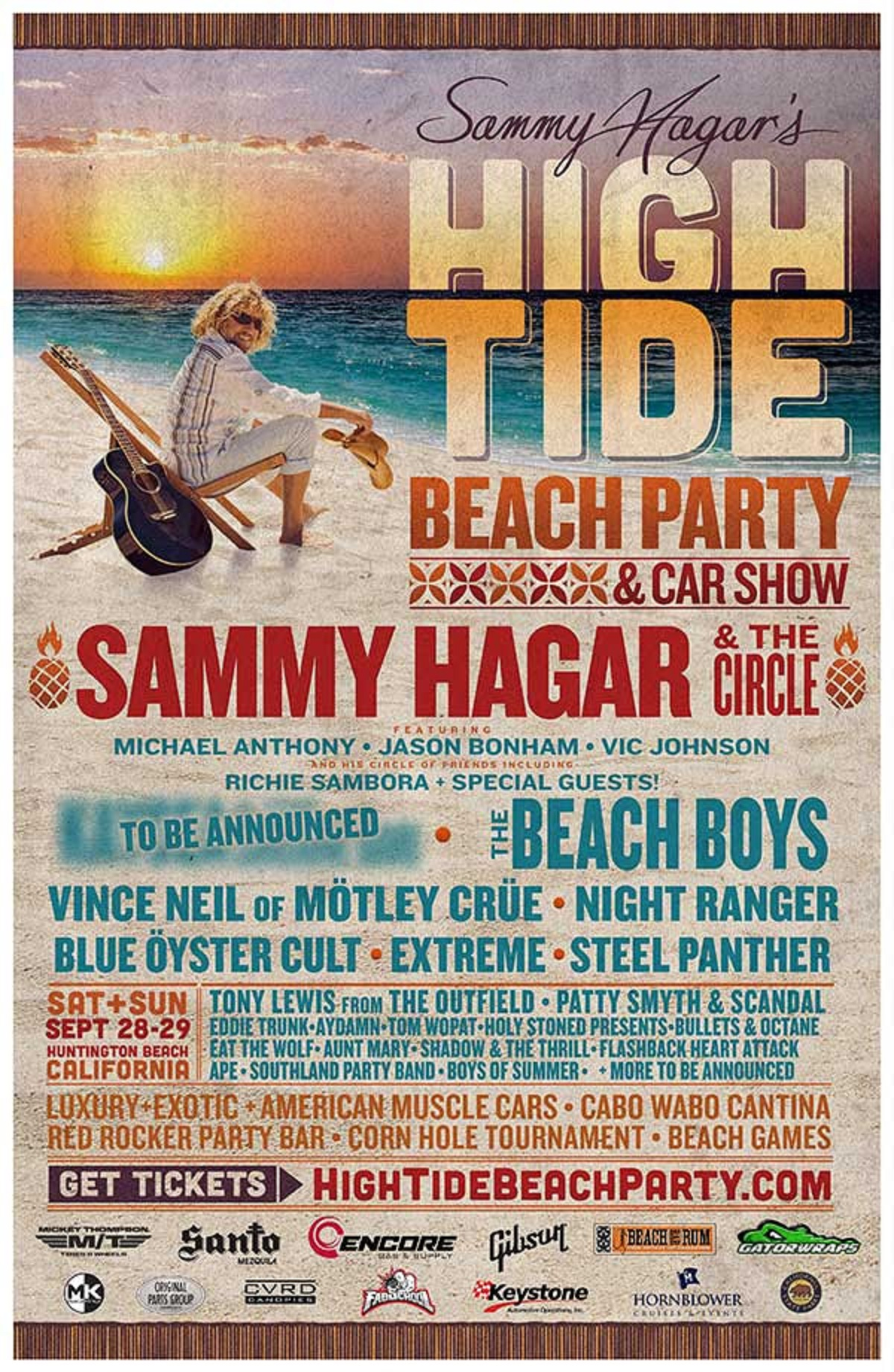 "Sammy Hagar Announces Lineup For Second ""High Tide Beach Party & Car Show"""