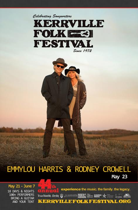Emmylou Harris and Rodney Crowell will play Kerrville Folk Festival