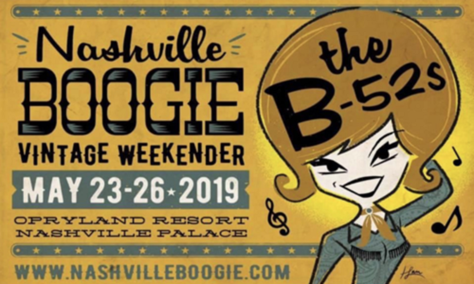 The B-52s, Ronnie Spector & The Ronettes, & JD McPherson to headline 2019 Nashville Boogie Vintage Weekender