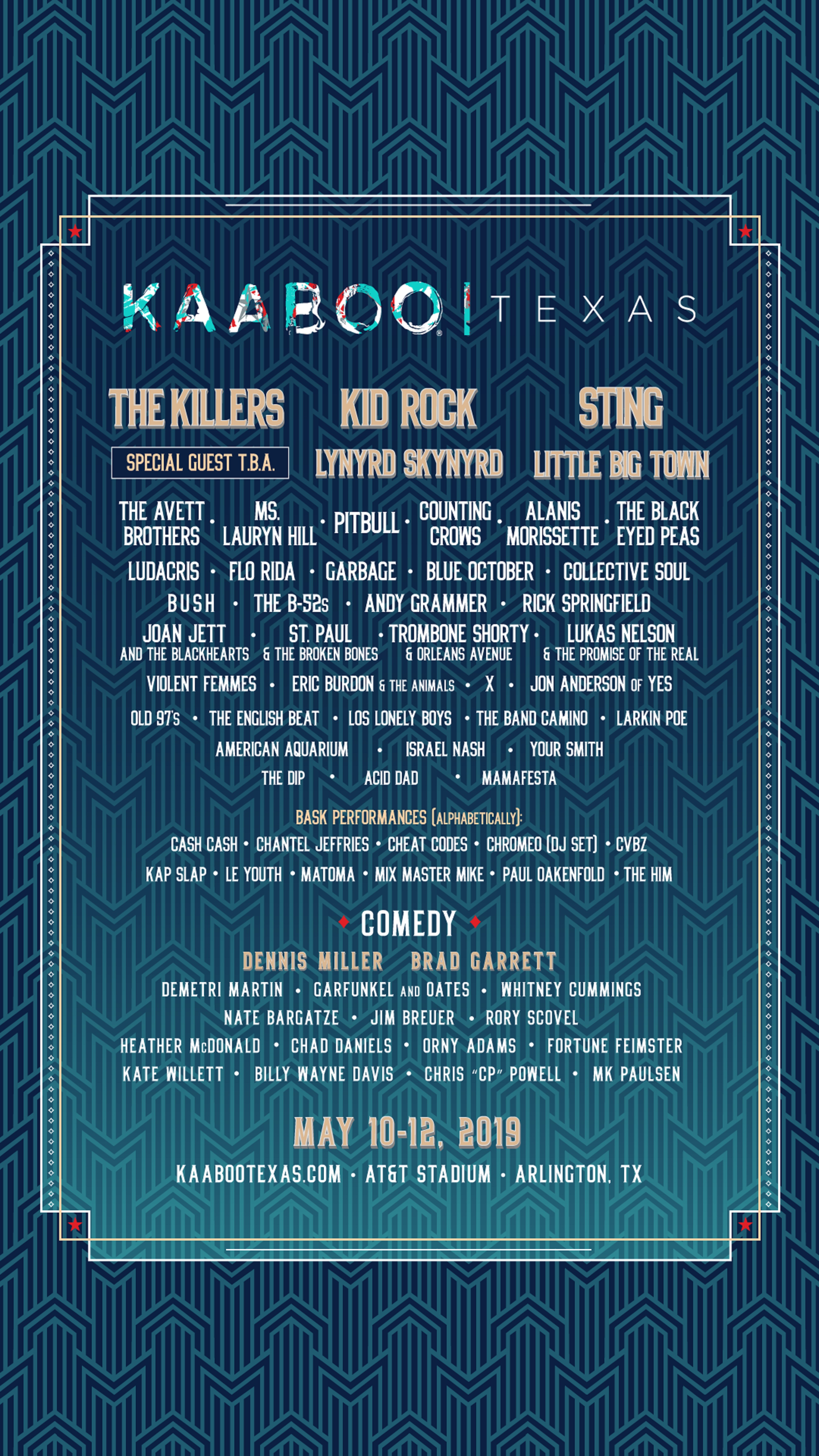 KAABOO TEXAS DEBUTS ON MAY 10-12, 2019