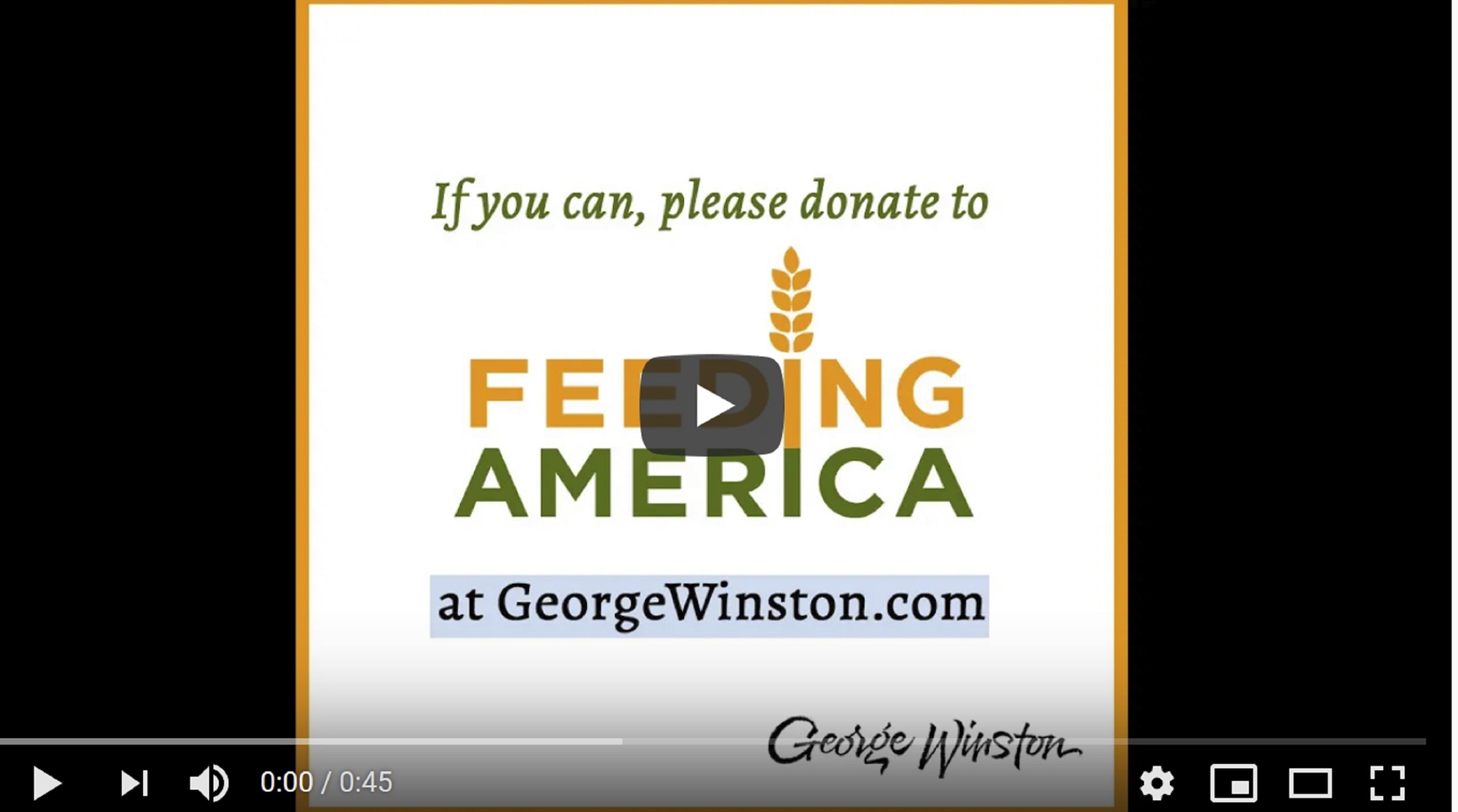 George Winston Releases Video Tribute to George Floyd