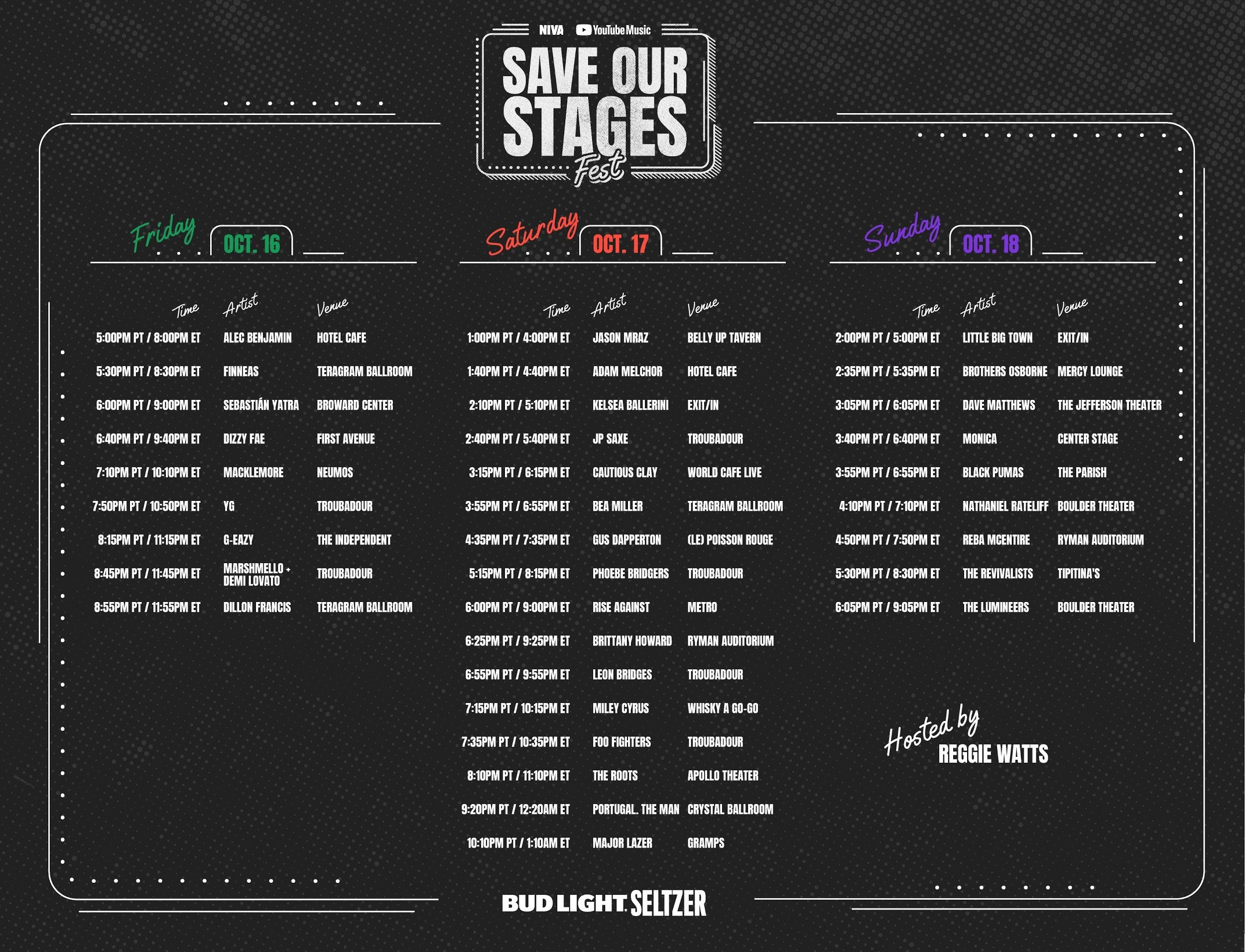 SAVE OUR STAGES FEST (#SOSFEST) DAILY SCHEDULE