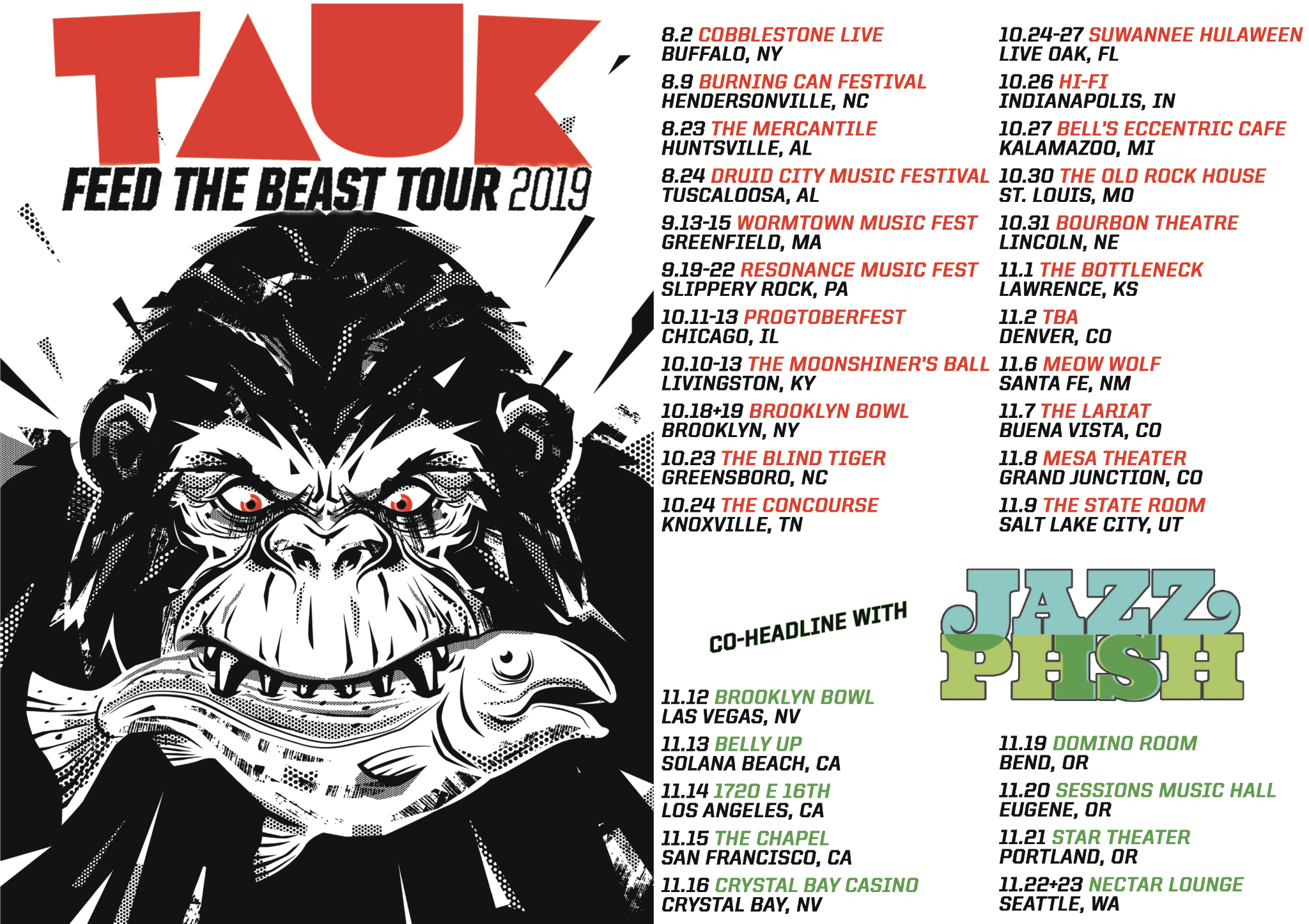 "TAUK Announces ""Feed The Beast"" tour including dates with JAZZ IS PHSH"