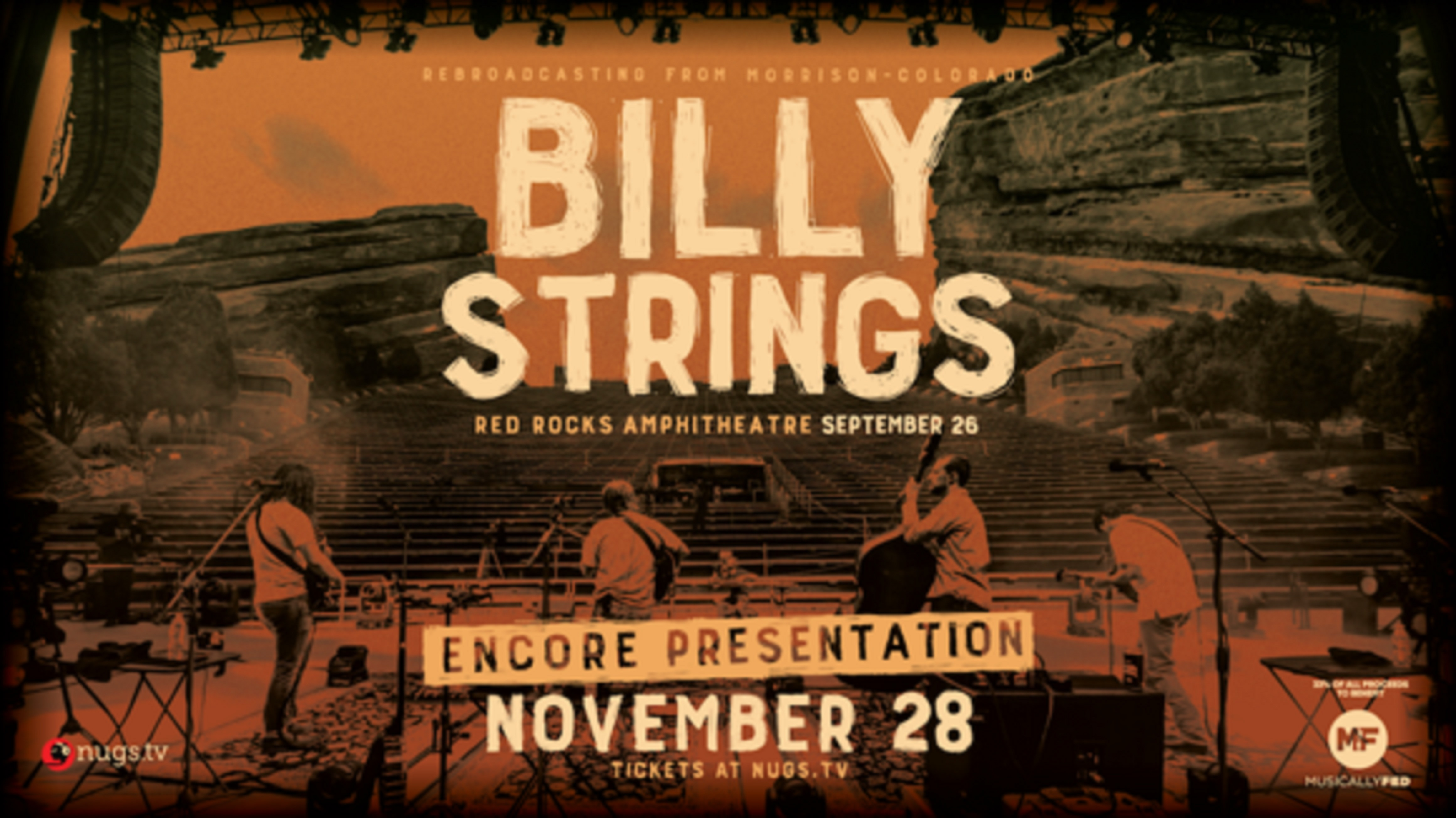 Billy Strings confirms encore broadcast of Red Rocks Amphitheatre livestream for November 28
