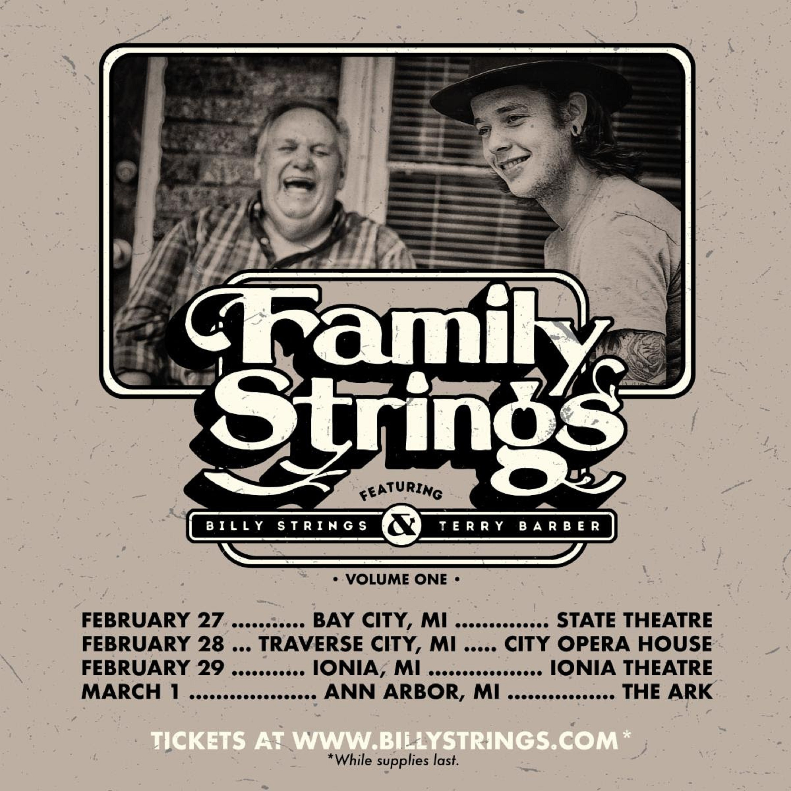 "Billy Strings announces ""Family Strings"" ft. Billy Strings and Terry Barber"