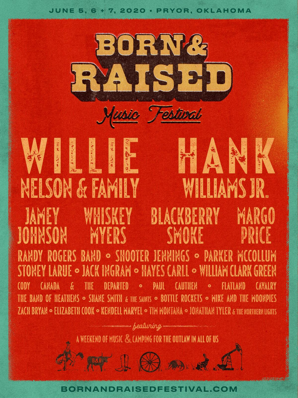 BORN & RAISED MUSIC FESTIVAL Announces Inaugural Lineup Headlined By Willie Nelson & Family and Hank Williams Jr.