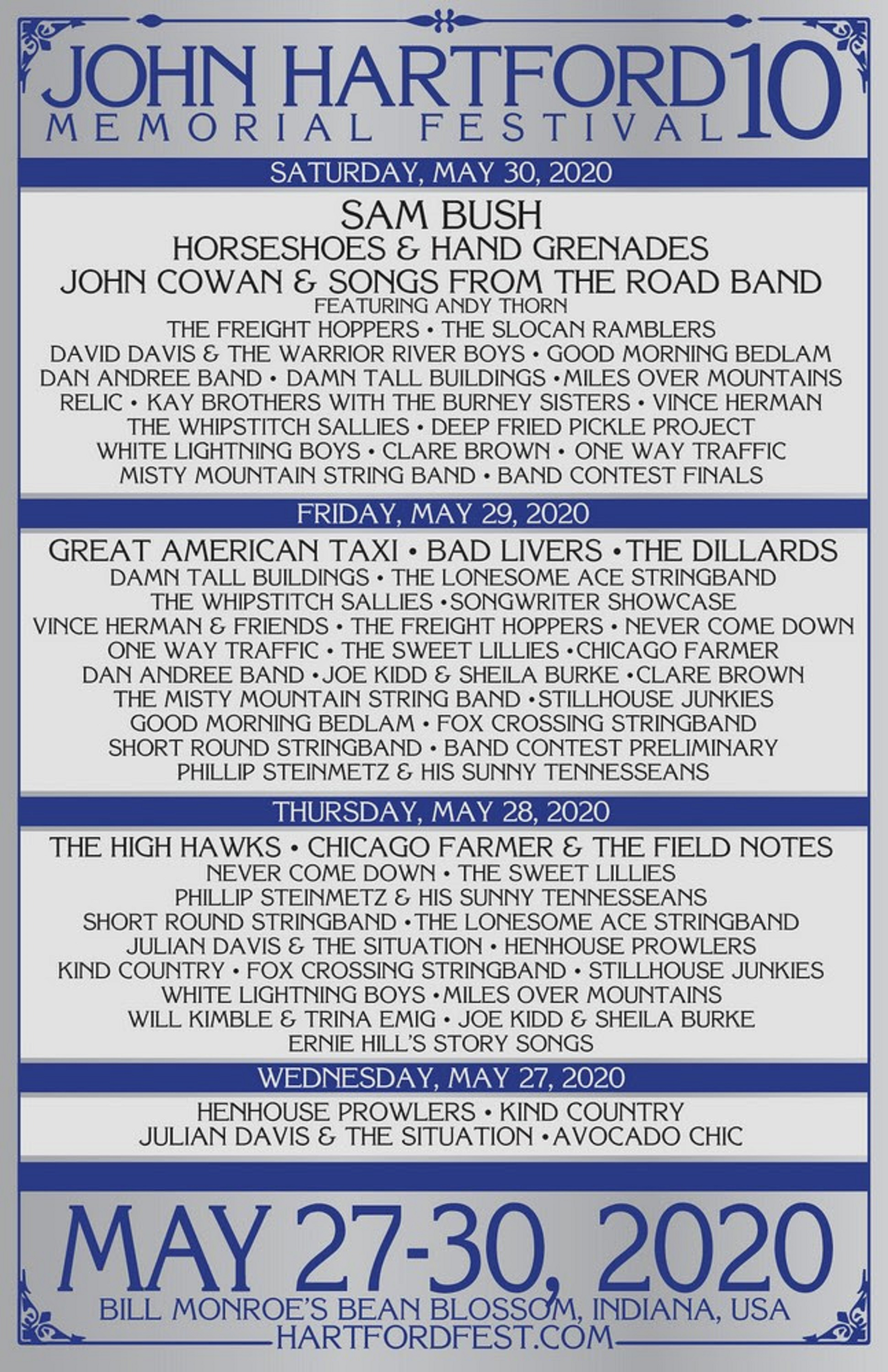 John Hartford Festival 2020 Daily Lineup Announced