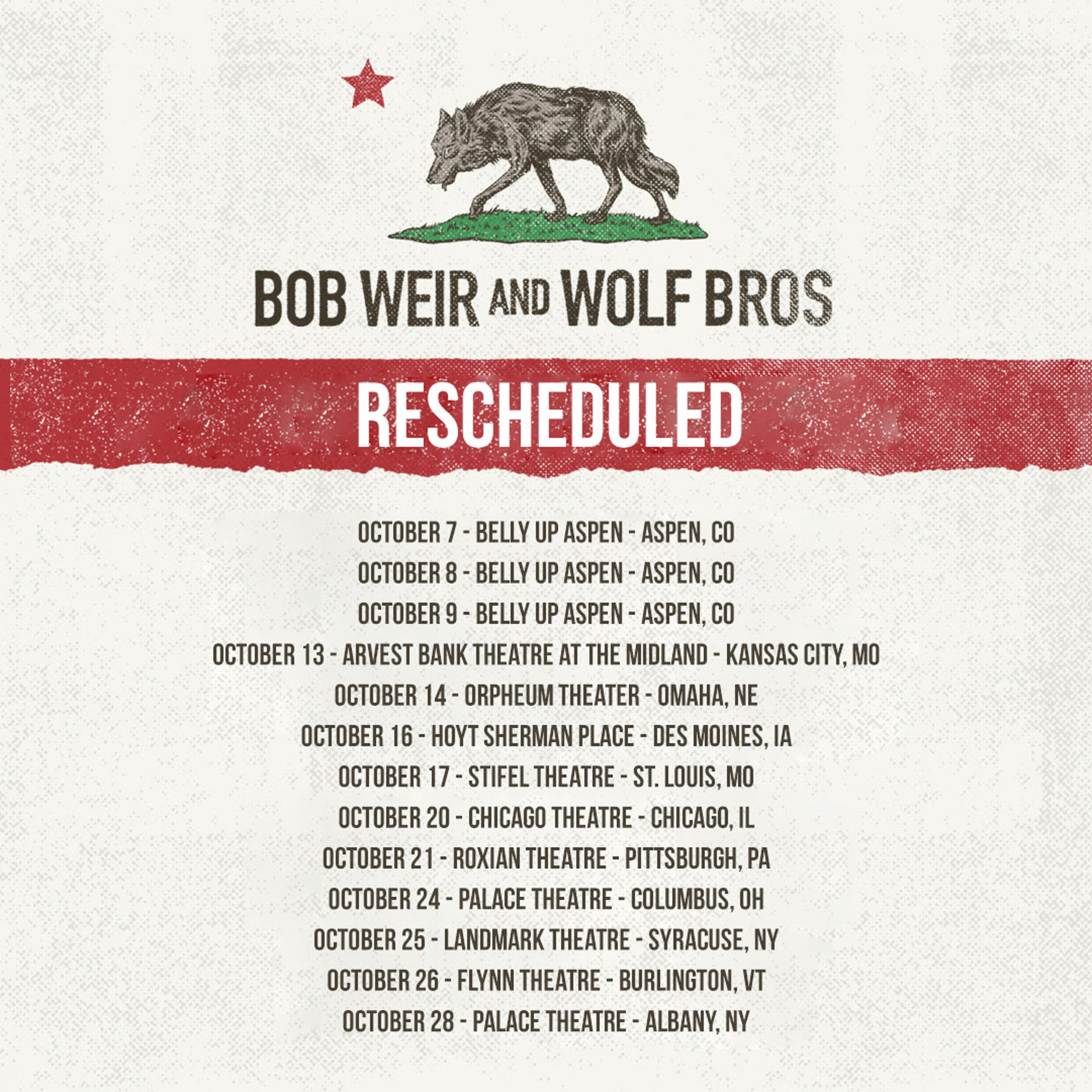 Bob Weir and Wolf Bros reschedule headlining dates