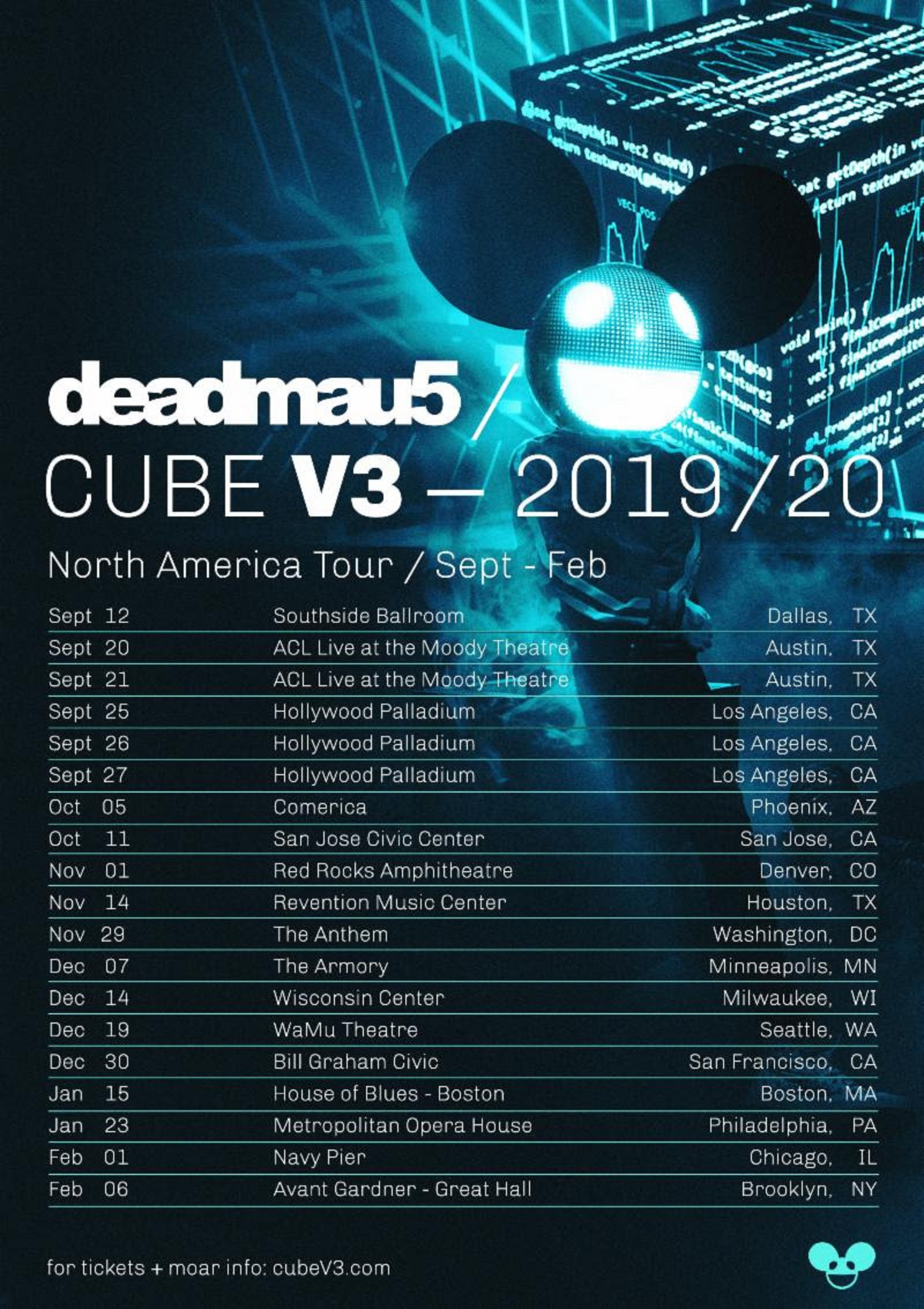 deadmau5 Announces 'Cube V3 Tour' North America 2019