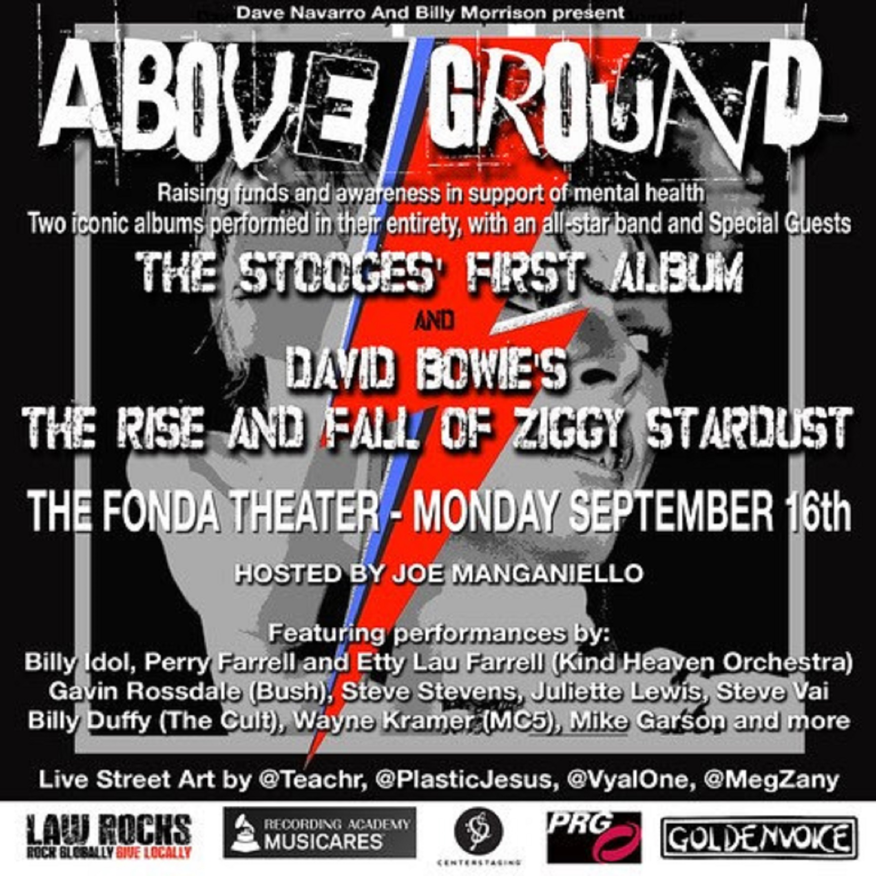 "DAVE NAVARRO and BILLY MORRISON Announce Star-Studded Line-Up for the Second Annual ""ABOVE GROUND"""