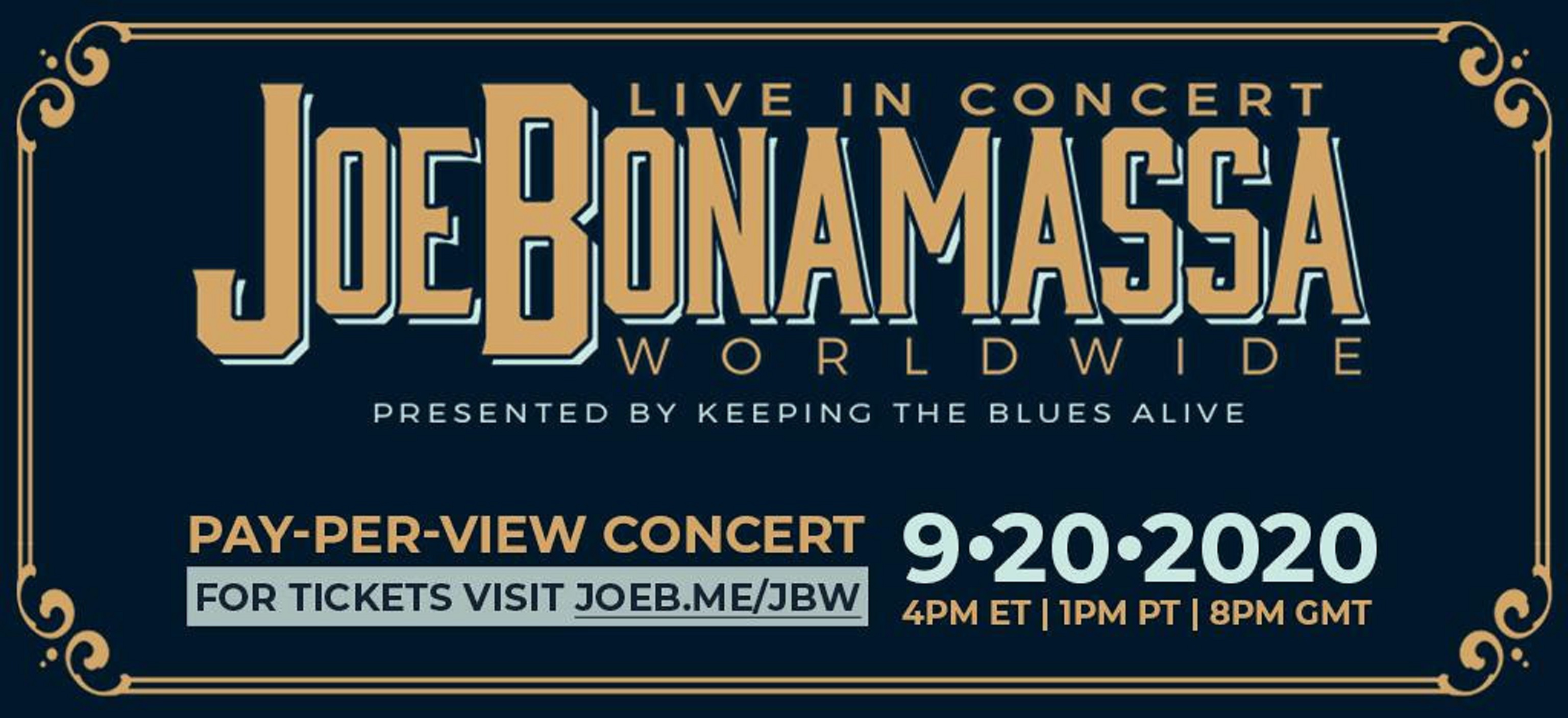 Joe Bonamassa Live Stream Pay Per View from Ryman Auditorium Sept 20