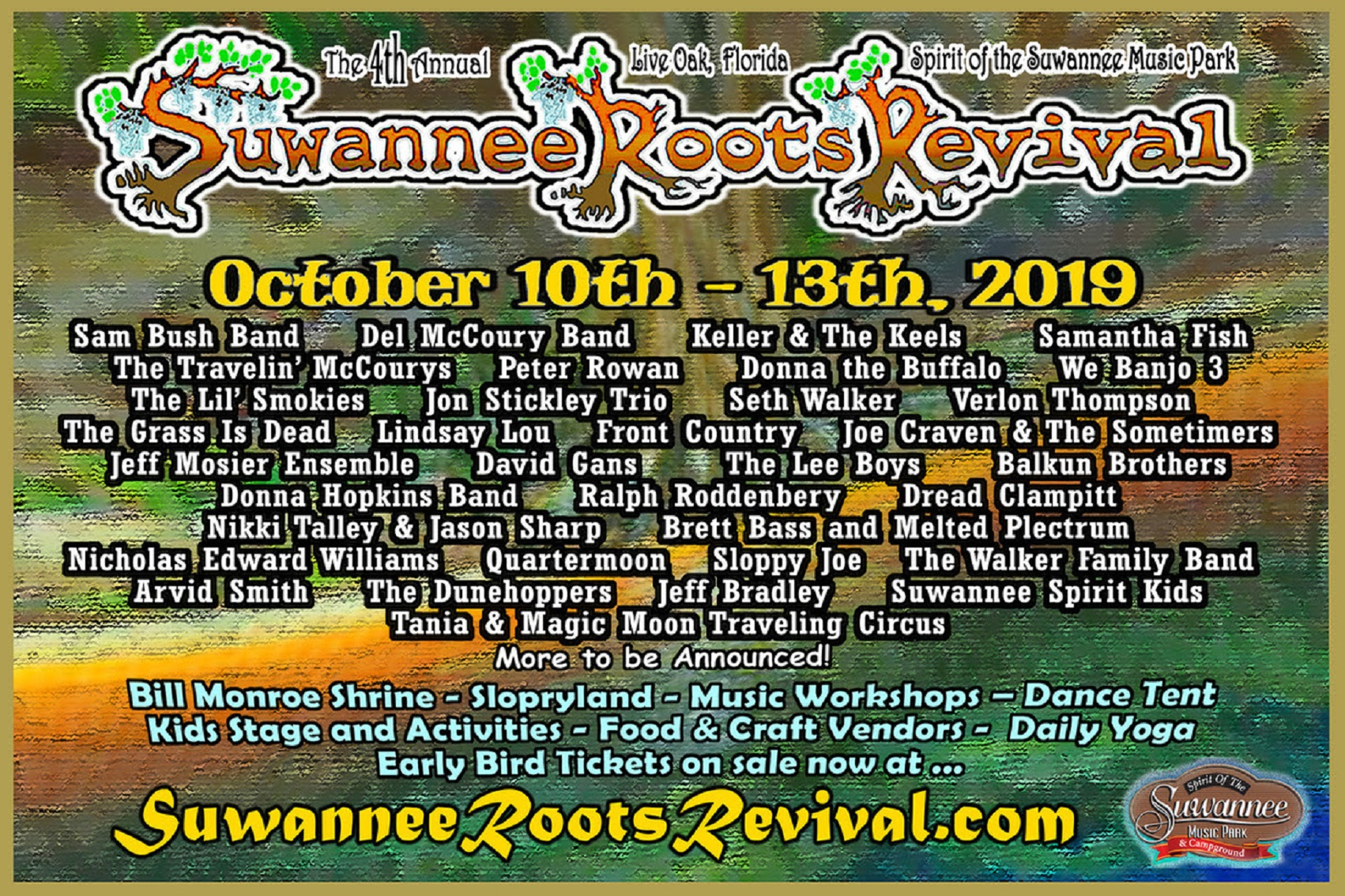 Suwannee Roots Revival Oct 10-13 w/ Sam Bush, Del McCoury, Keller & The Keels