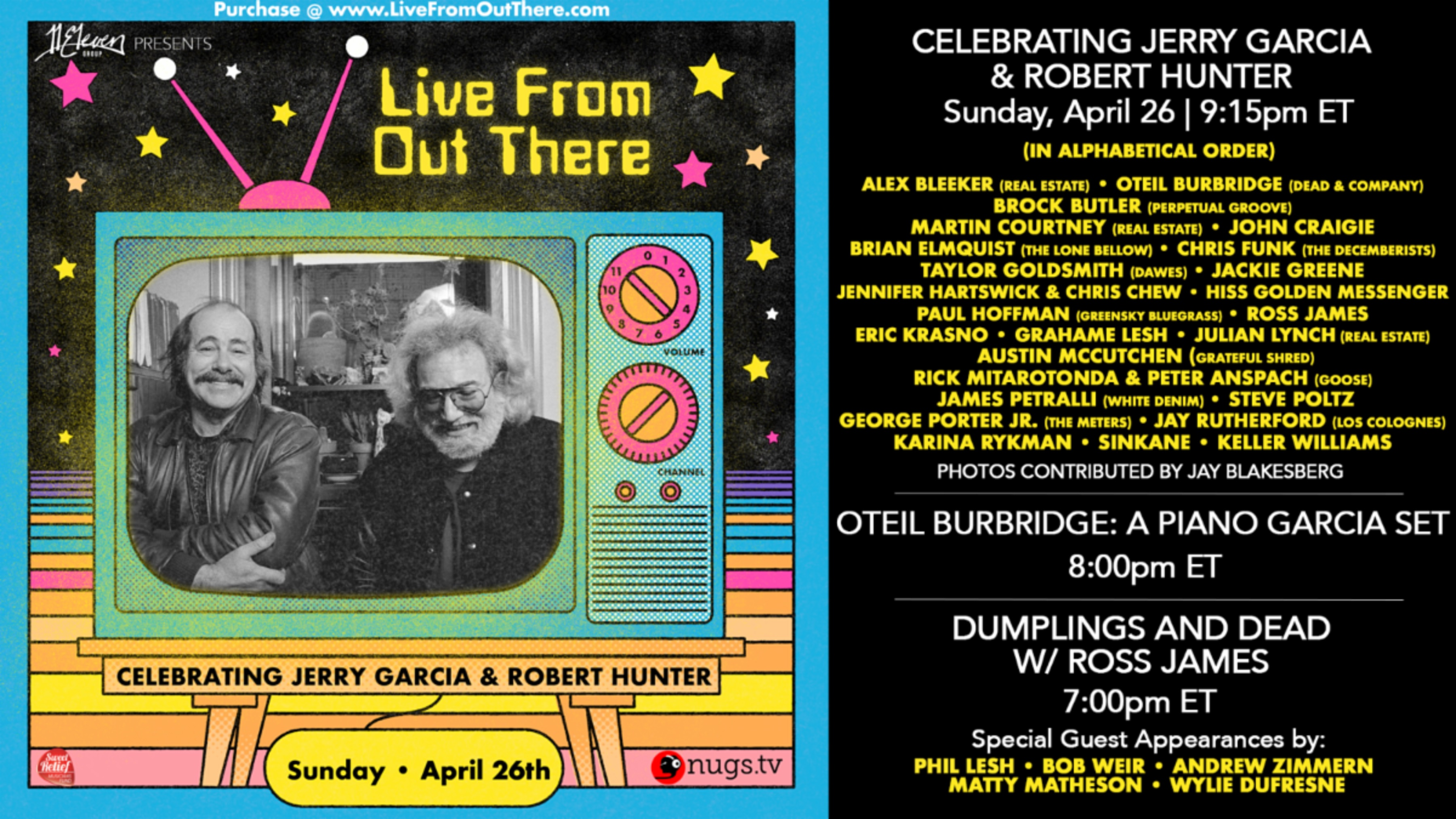 Jerry Garcia & Robert Hunter Virtual Festival for charity