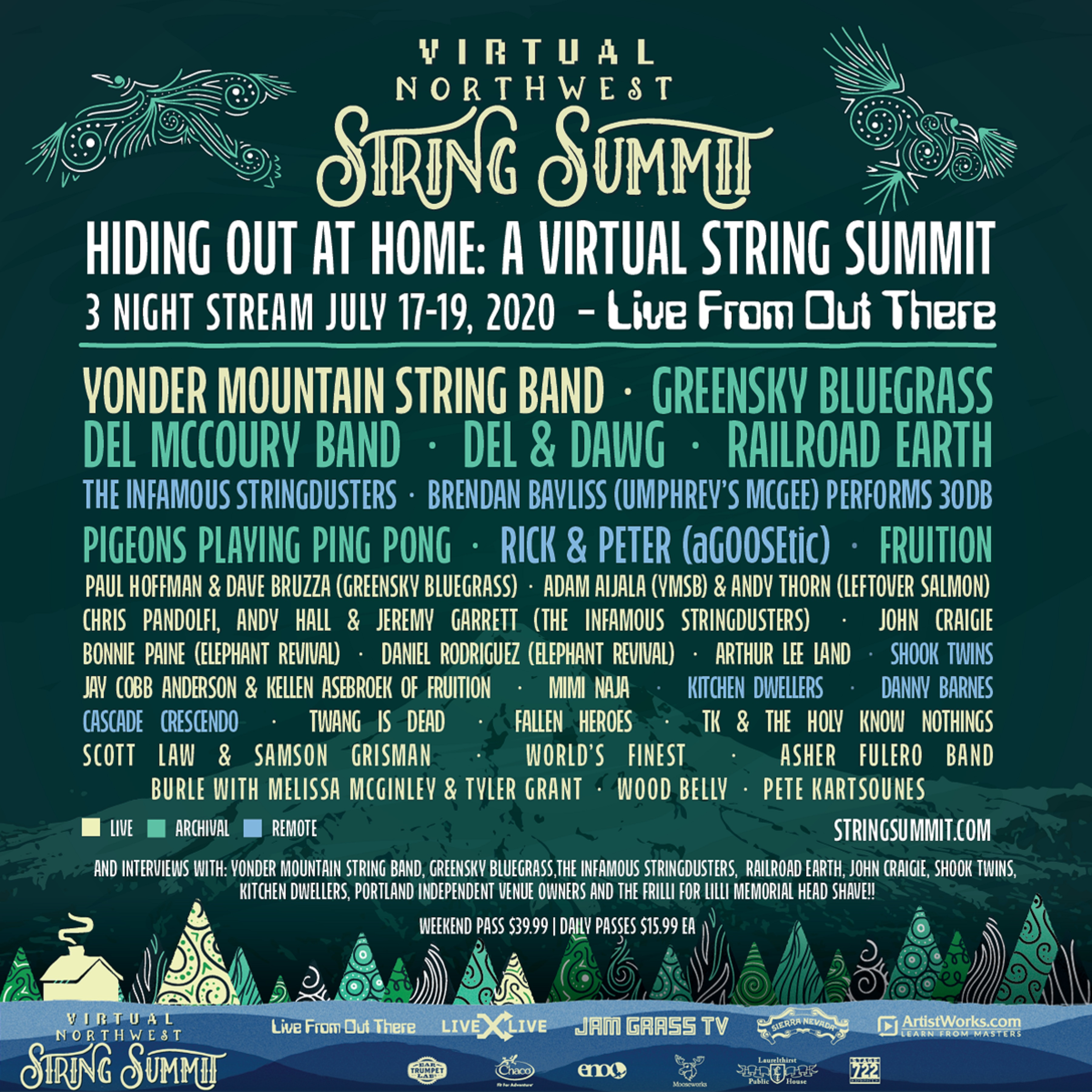 Northwest String Summit Announces Final Lineup for Hiding Out At Home