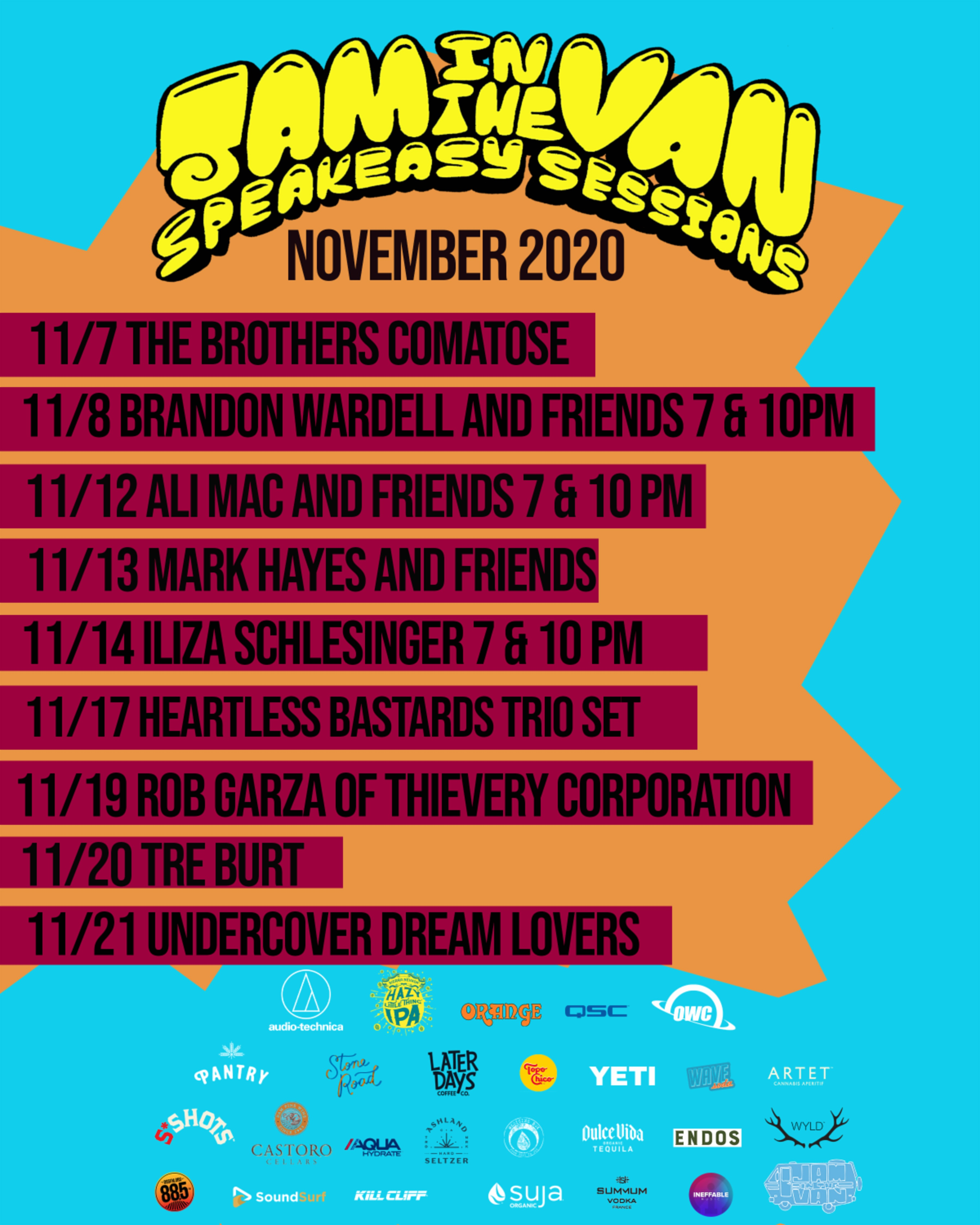 Jam In The Van Announces November Lineup for Speakeasy Sessions