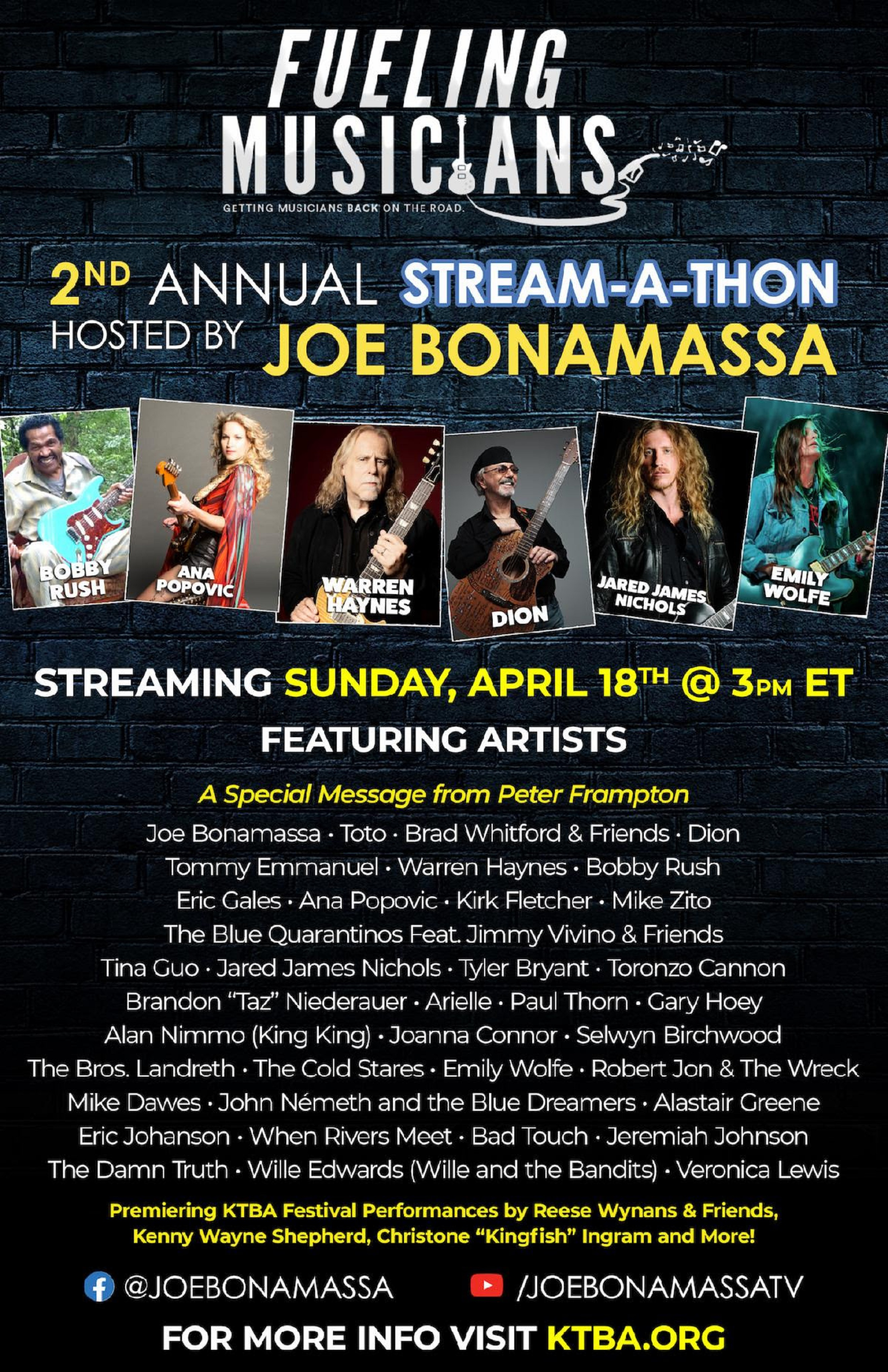 Joe Bonamassa to host 2nd annual Stream-A-Thon this Sunday 4/18 @ 3pm ET; Raising money for musicians impacted by COVID-19