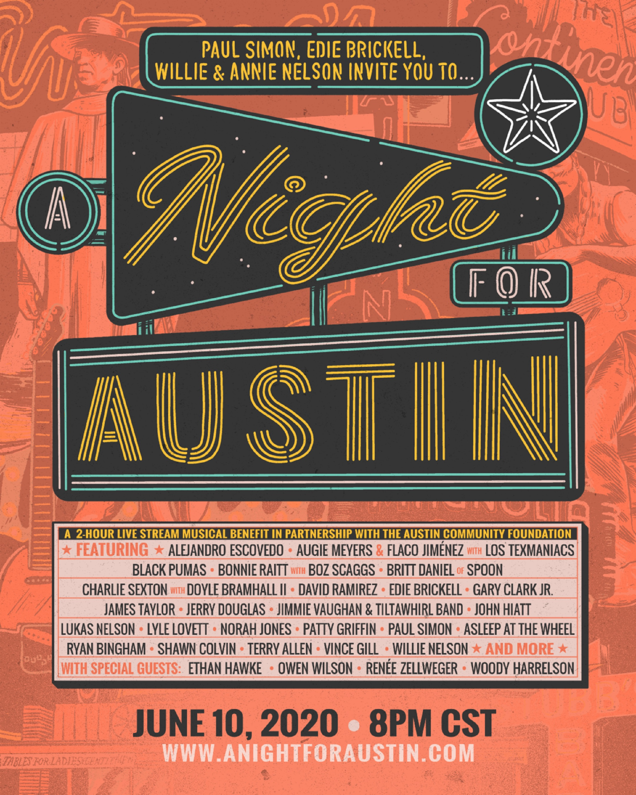 "Paul Simon, Edie Brickell, Willie Nelson, Woody Harrelson, Owen Wilson, Ethan Hawke, Renée Zellweger, and more team up for ""A Night For Austin"""