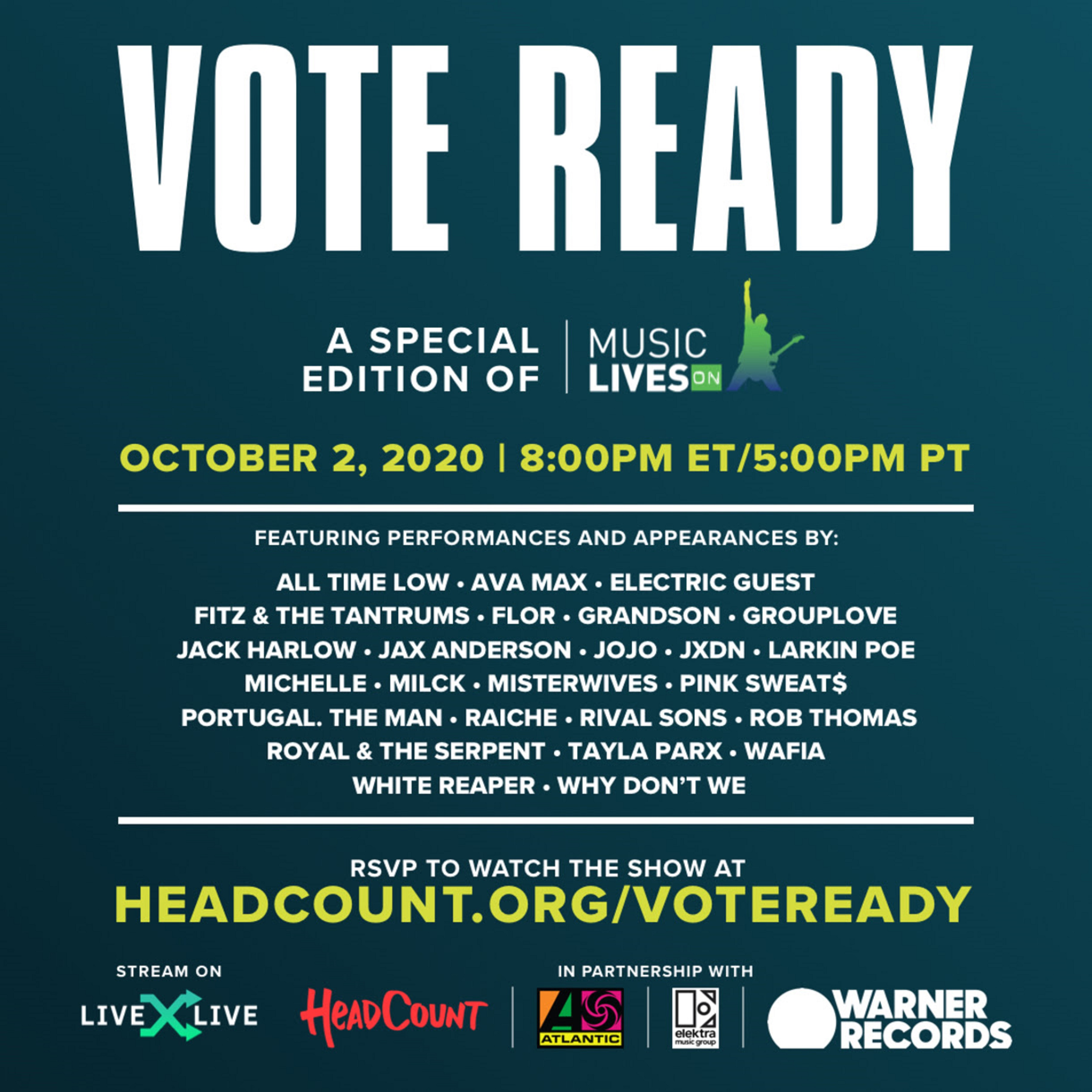 HeadCount + LiveXLive Launch THE VOTE READY FESTIVAL