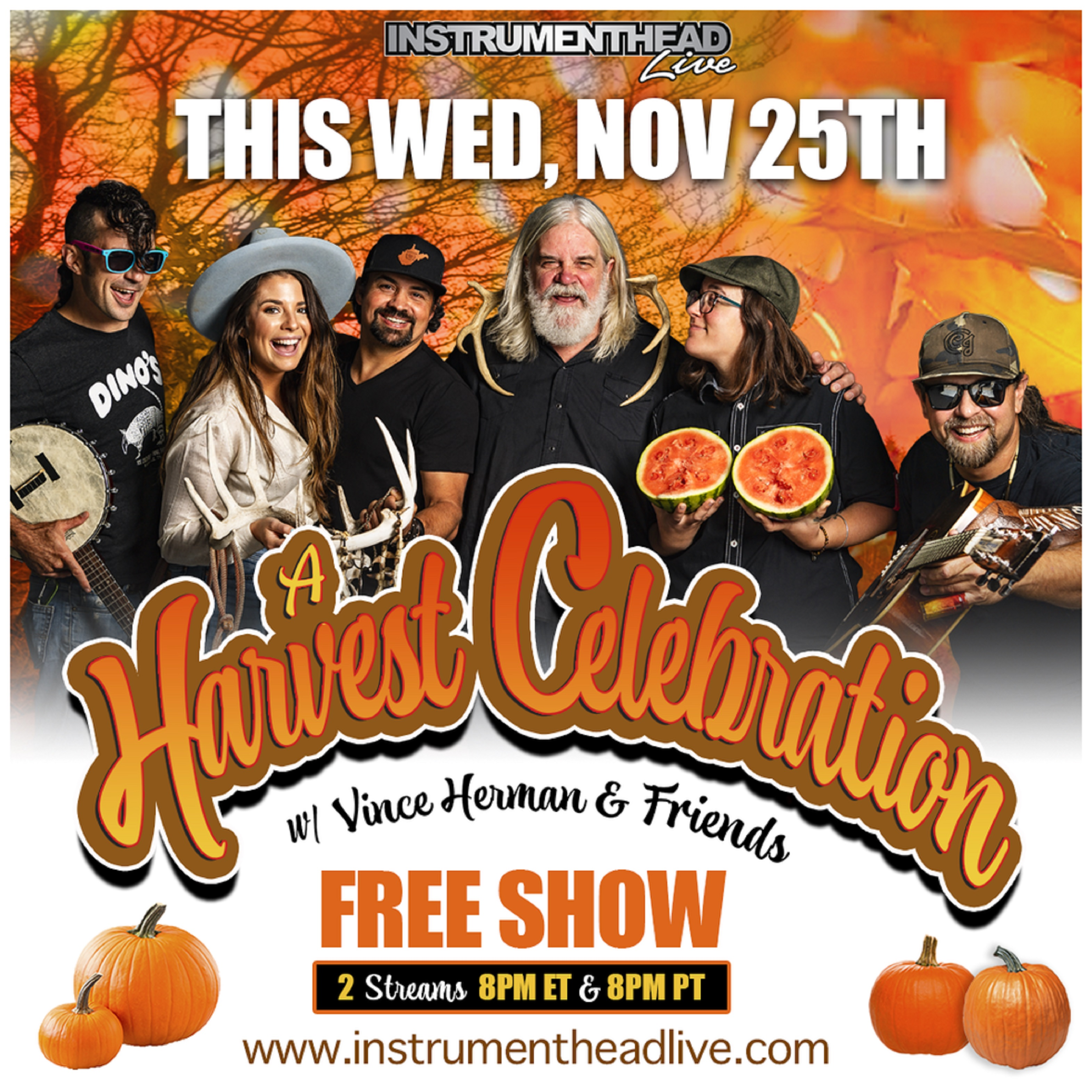 Vince Herman & Friends: A Harvest Celebration on Instrumenthead Live - Wed 11/25