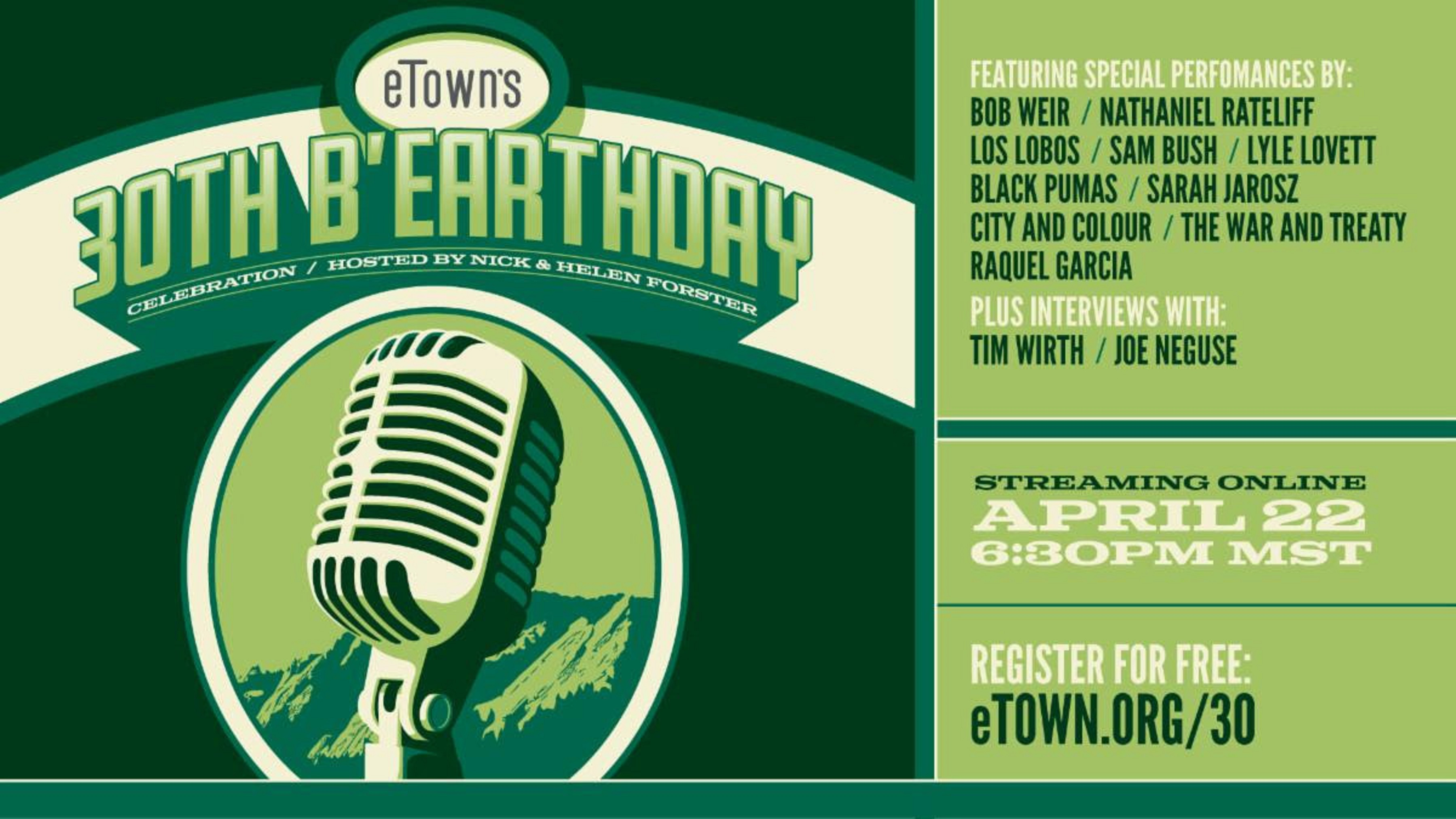 eTown's Free 30th b'Earthday Celebration To Feature Bob Weir, Sam Bush, Lyle Lovett, And More This Thursday, April 22nd