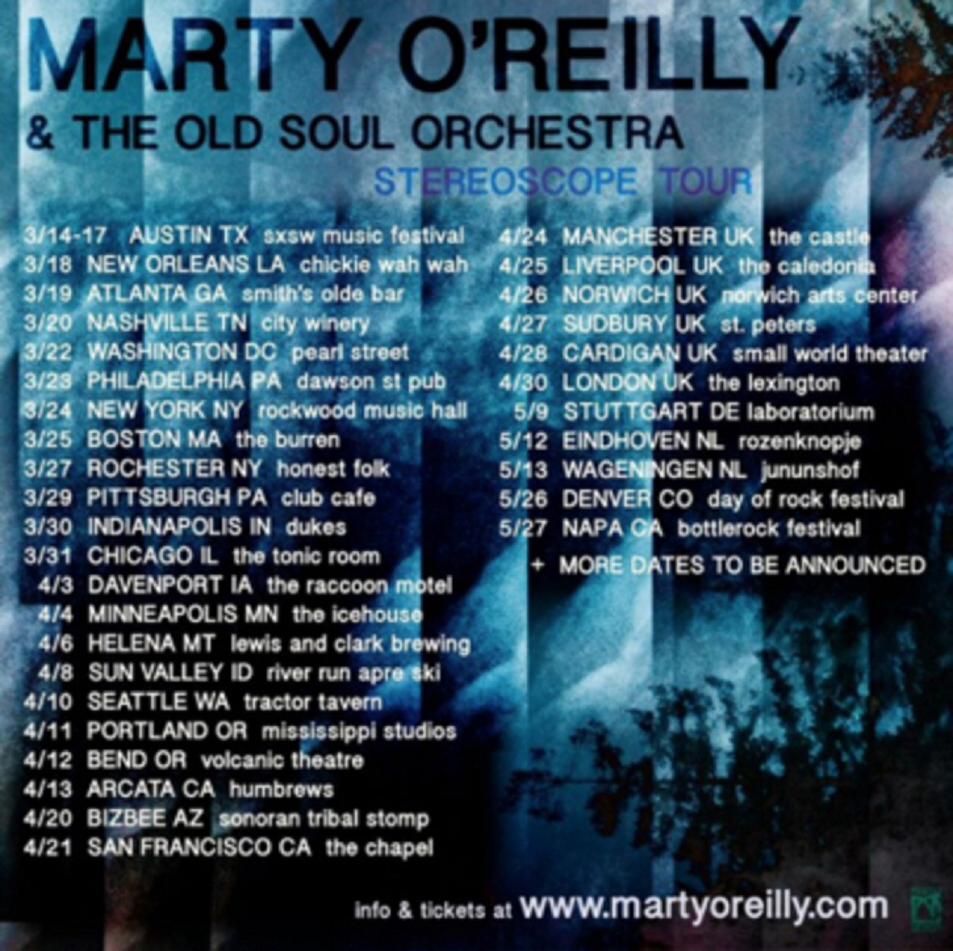 Marty O'Reilly & the Old Soul Orchestra Announce Spring Tour