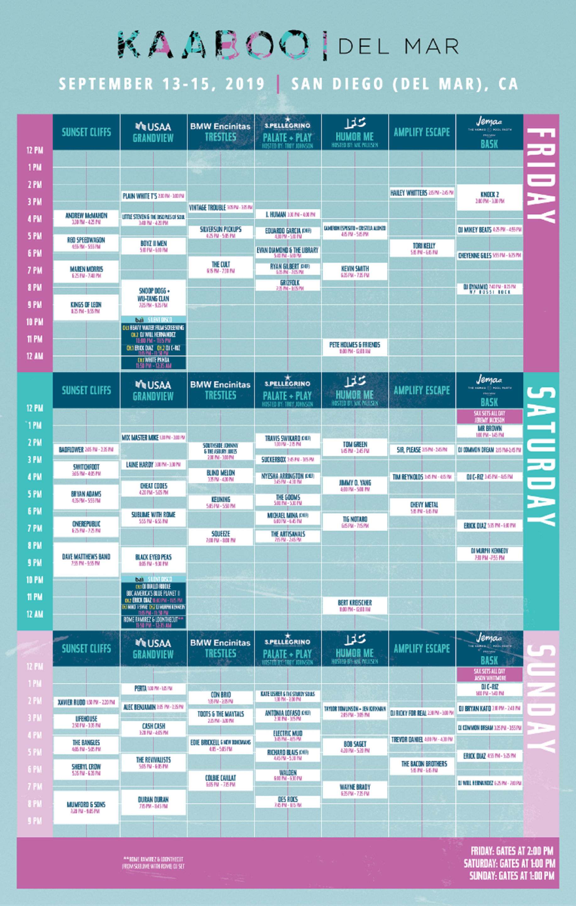 KAABOO Del Mar 2019 Daily Schedule Announced