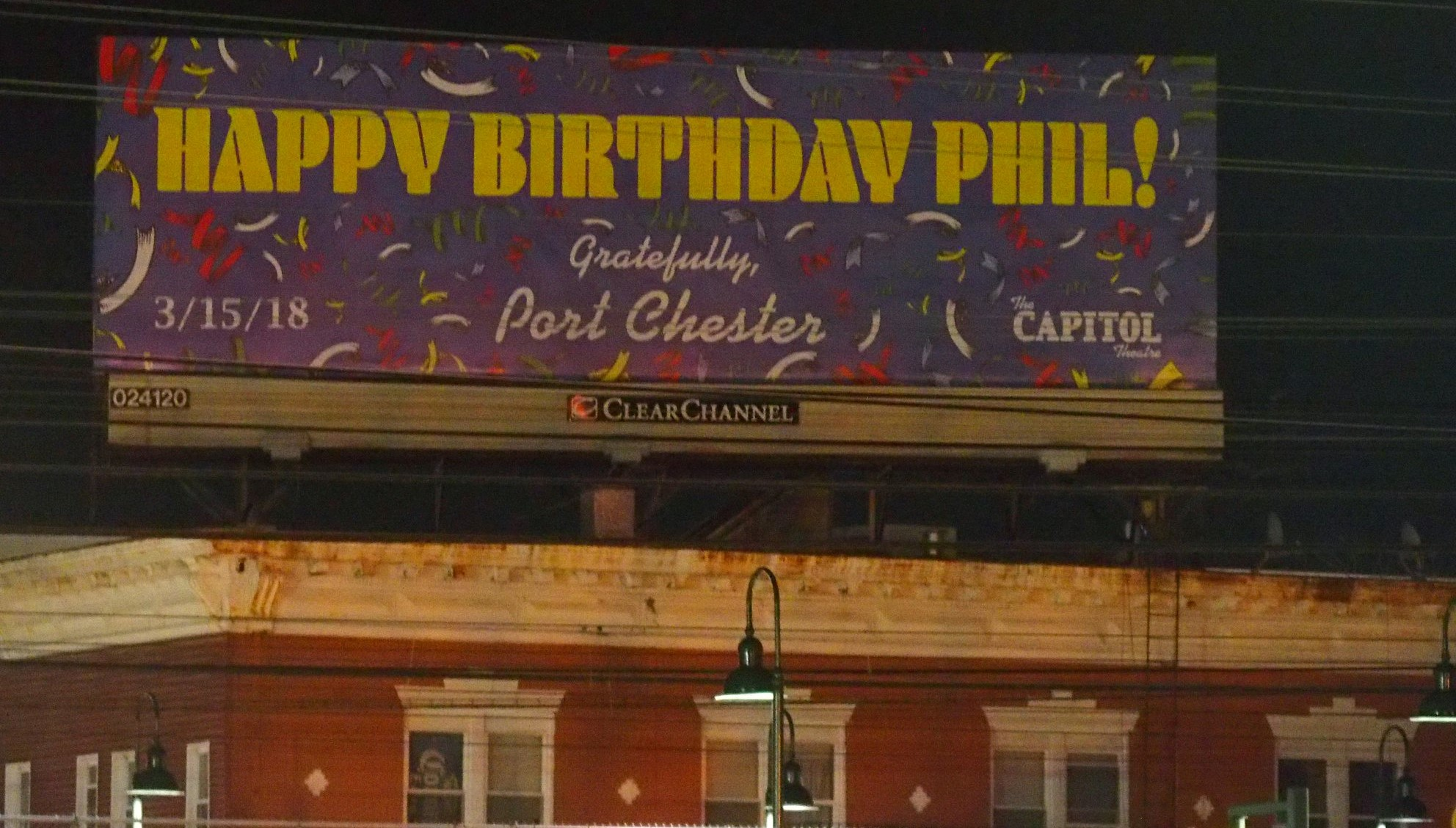 Port Chester, New York wishing Phil a Happy 78th Birthday!