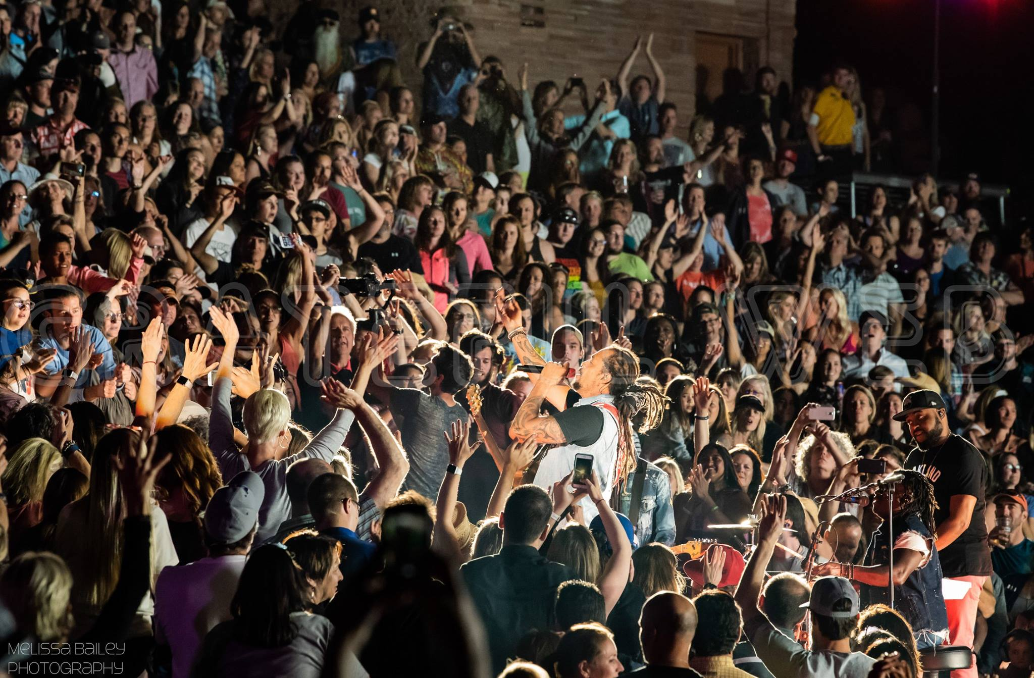 Michael Franti with the Red Rocks crowd - photos by Melissa Bailey